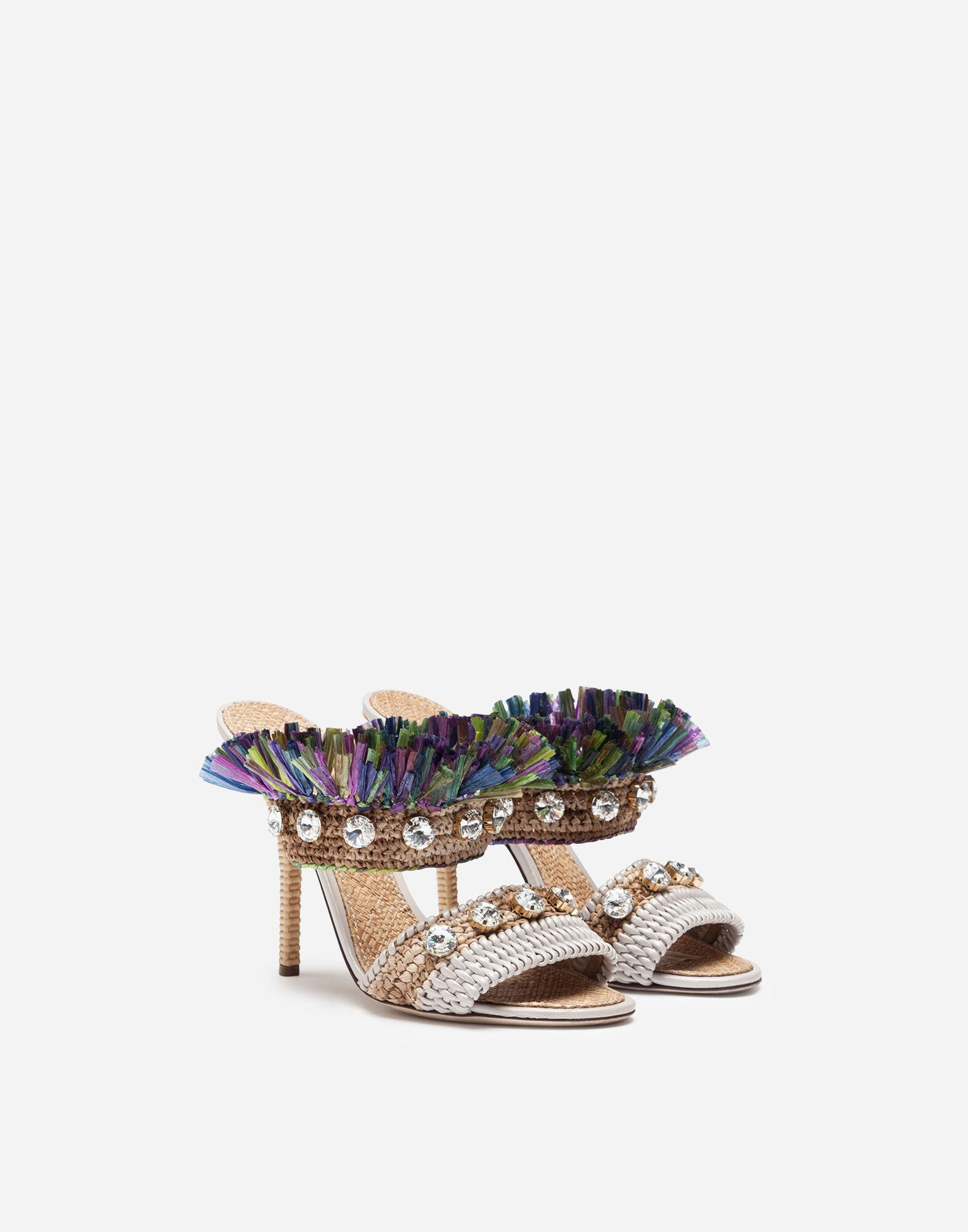 Mules in straw with bejeweled embroidery 1