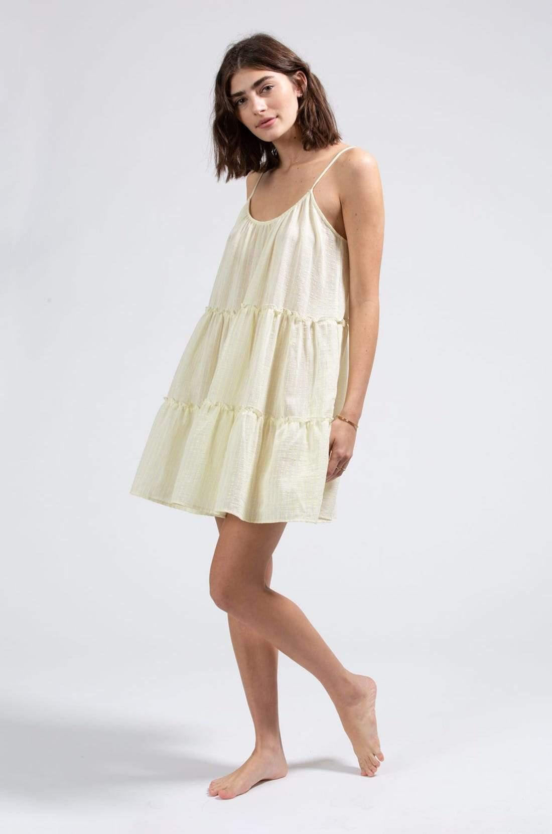 Marga Cotton Striped Gauze Cover-Up - Cloud/Yellow