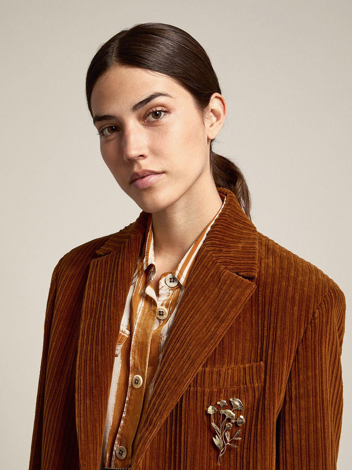 Terracotta-colored Journey Collection Bova single-breasted corduroy blazer 1