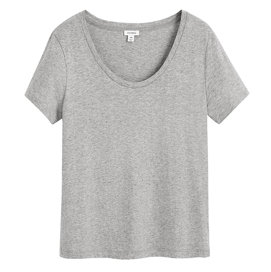 Women's Pima Scoop Neck Tee (Previous Version) in Heather Grey | Size: XS | 100% Pima Cotton by Cuyana