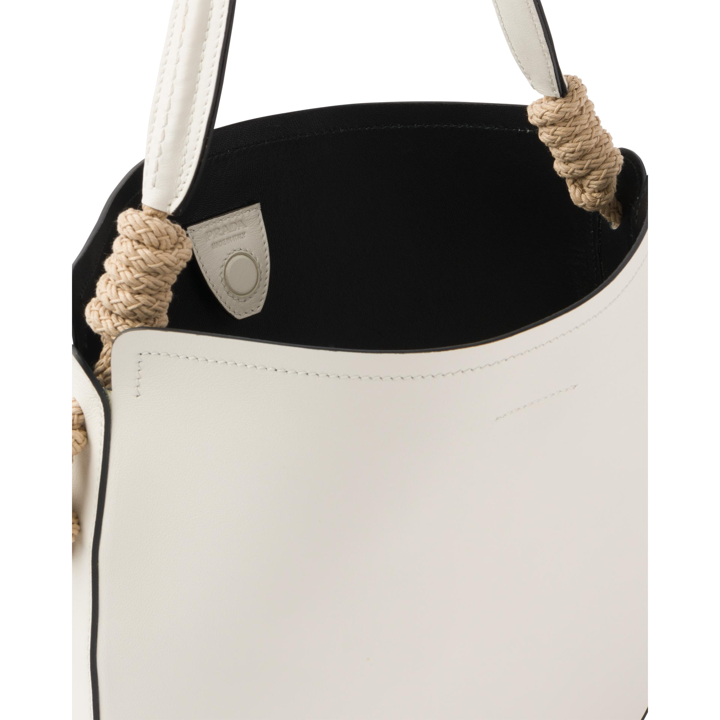 Leather Bag With Cord Details Women White/black 4