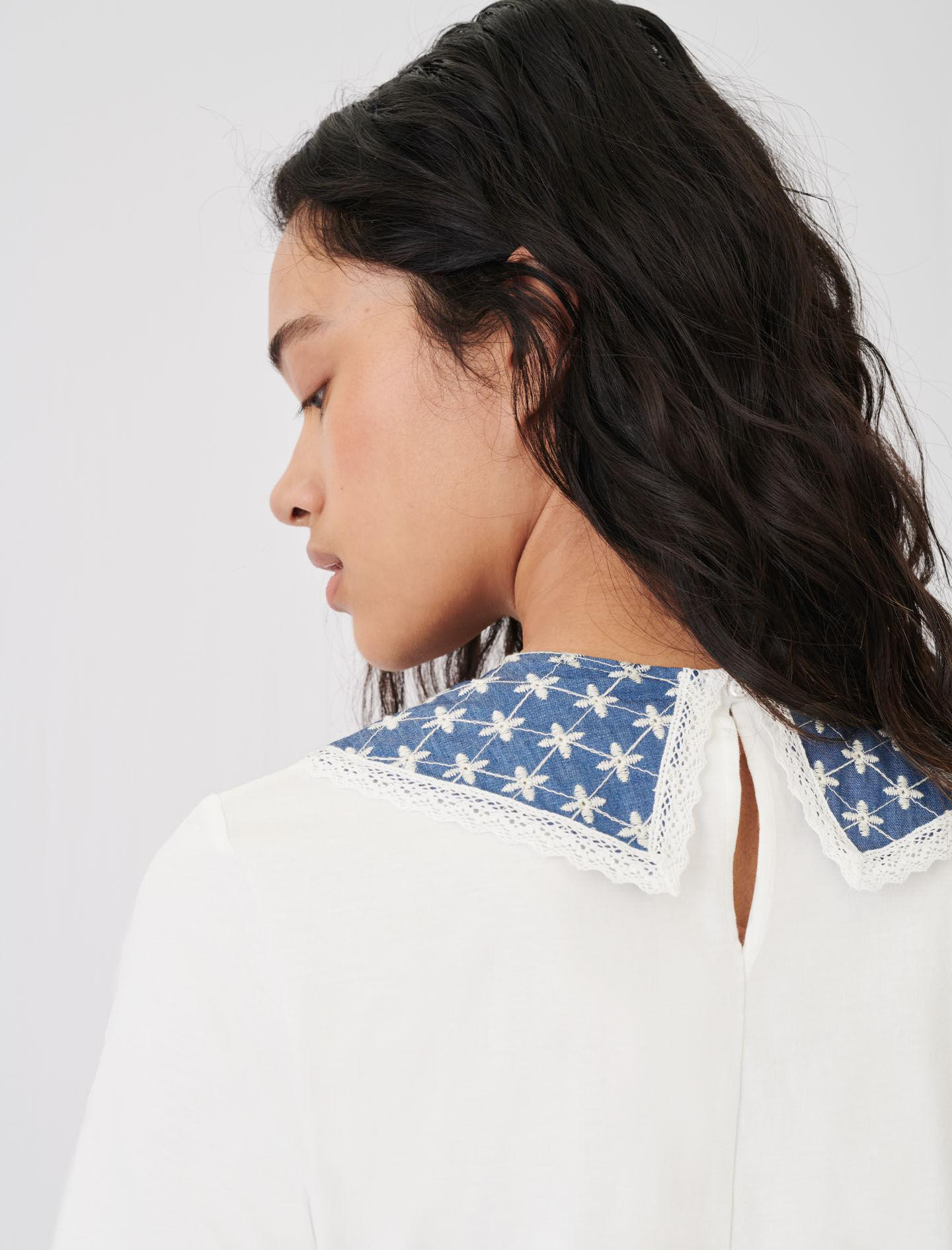 JERSEY T-SHIRT WITH EMBROIDERED COLLAR 4