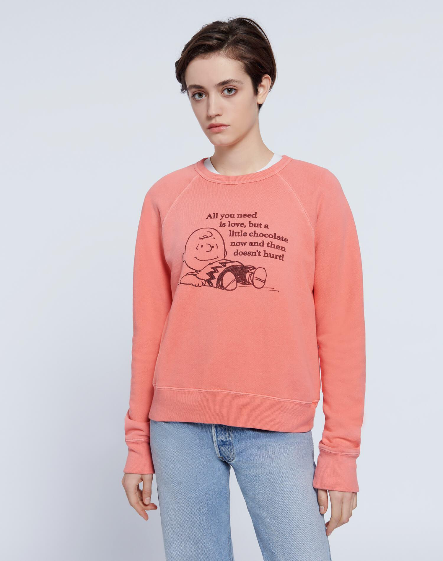 """Classic Raglan """"All You Need is Love""""  Crewneck - Faded Scarlet"""