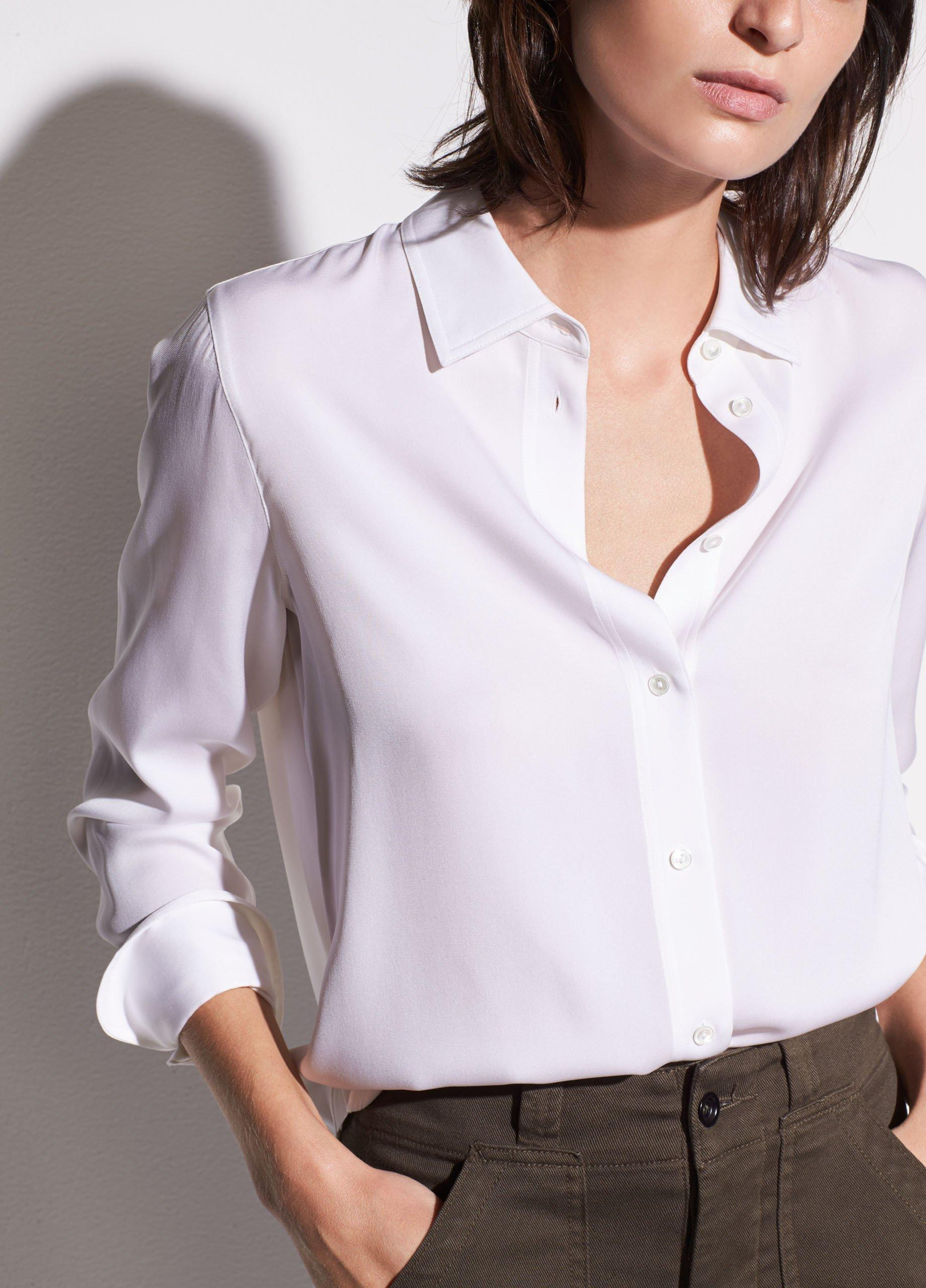 Slim Fitted Stretch-Silk Blouse