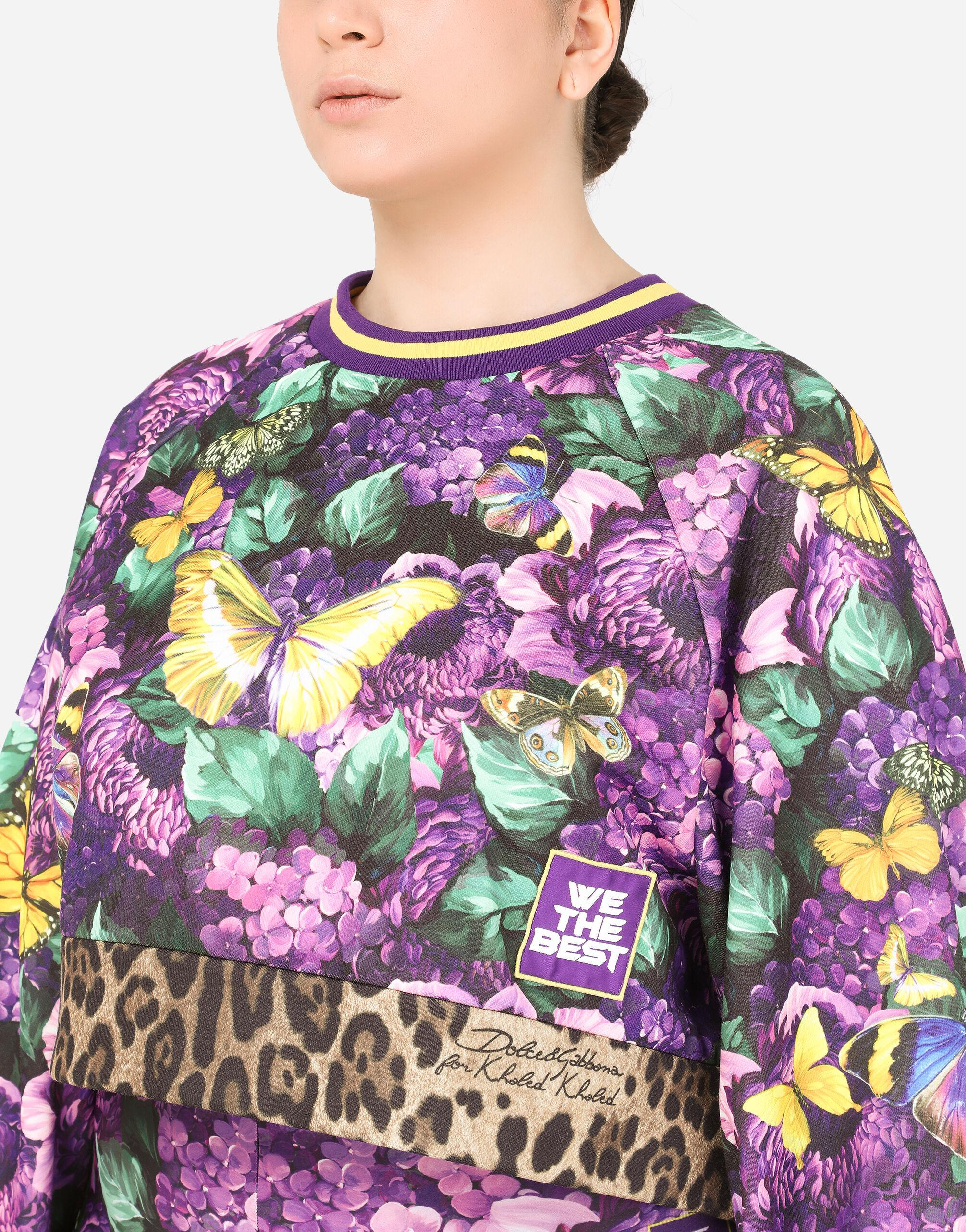 Round-neck jersey sweatshirt with butterfly print 3