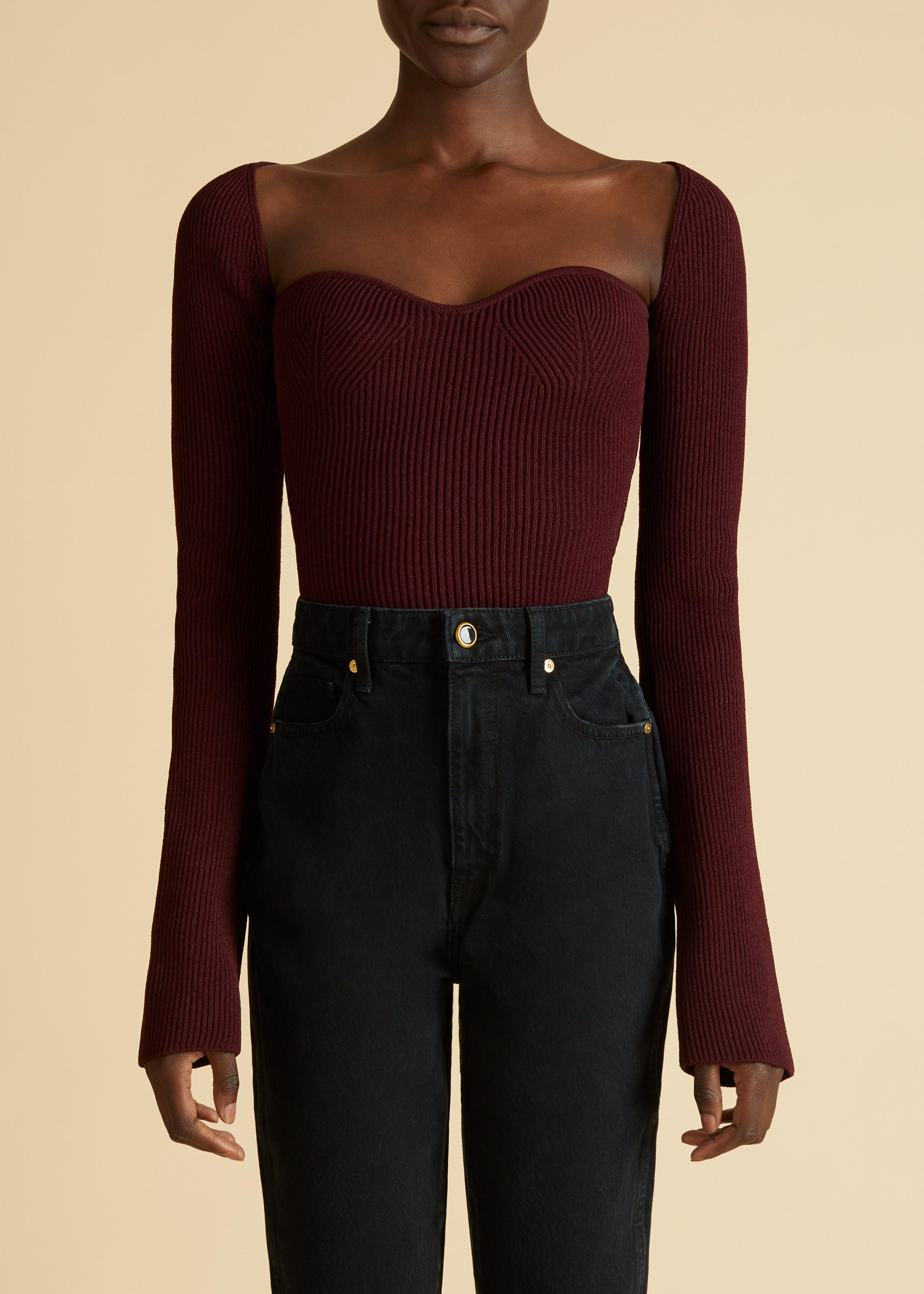 The Maddy Top in Oxblood