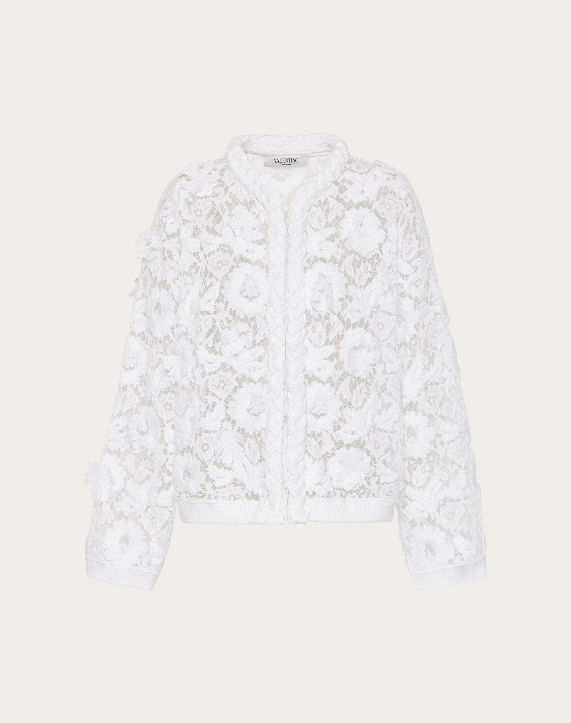 CARDIGAN IN COTTON AND EMBROIDERED LACE 4
