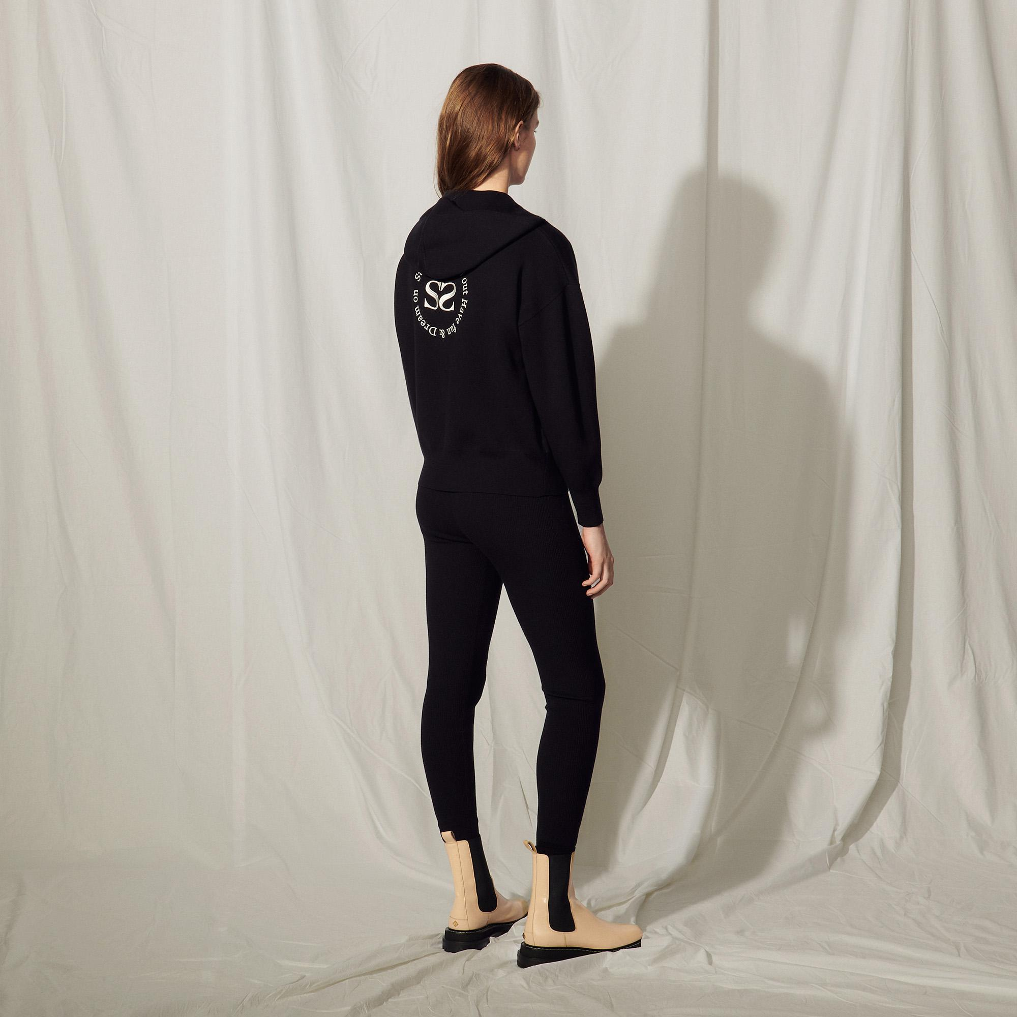 Zipped hoodie with an embroidered back 1