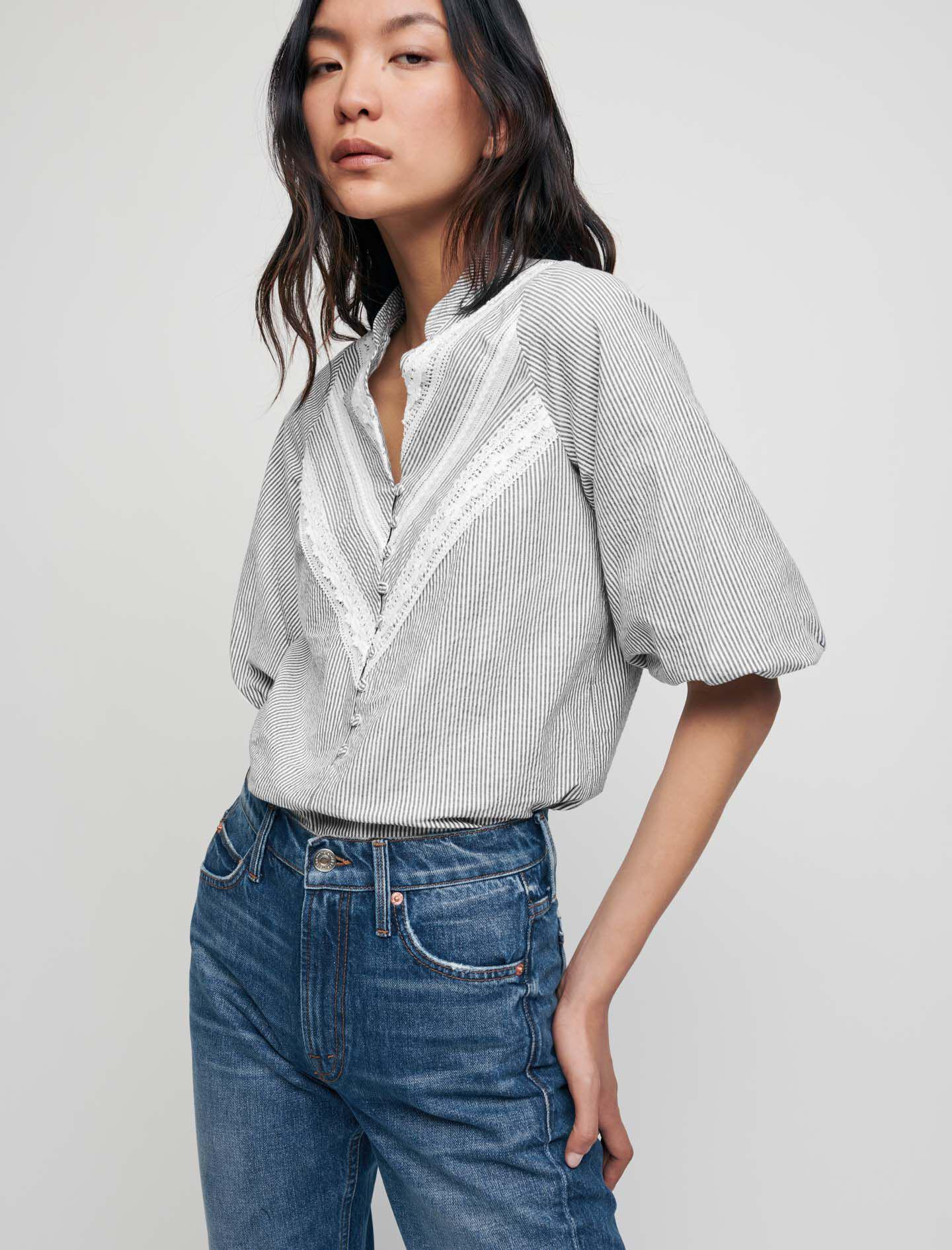 TOP WITH STRIPES AND LACE BRAID TRIMS