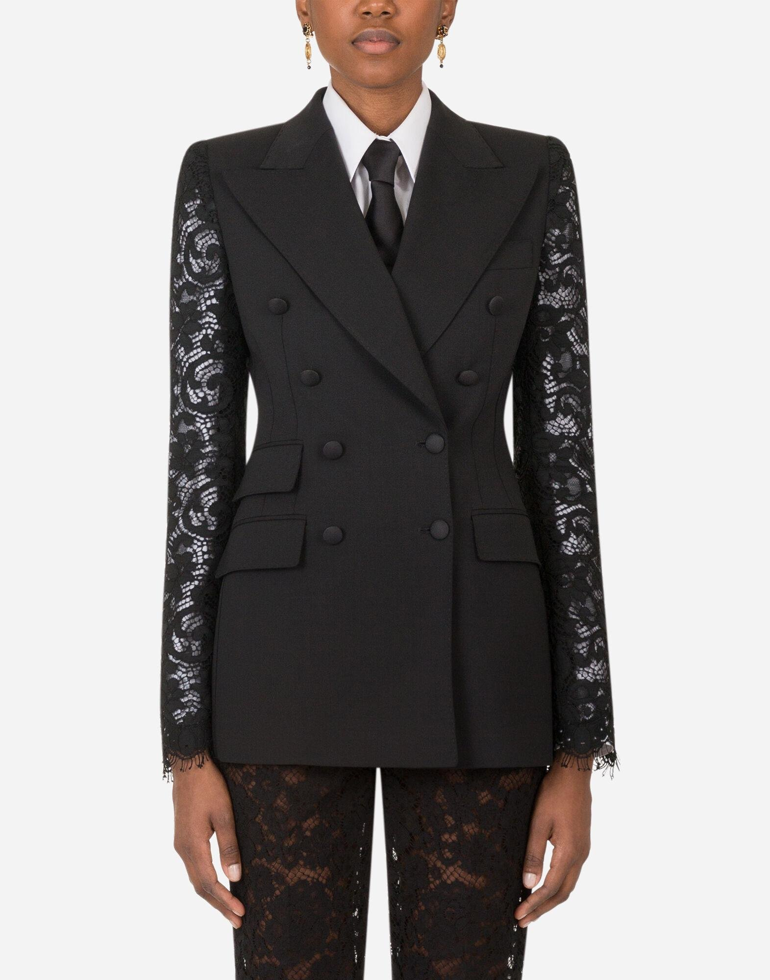 Double-breasted woolen blazer with lace sleeves