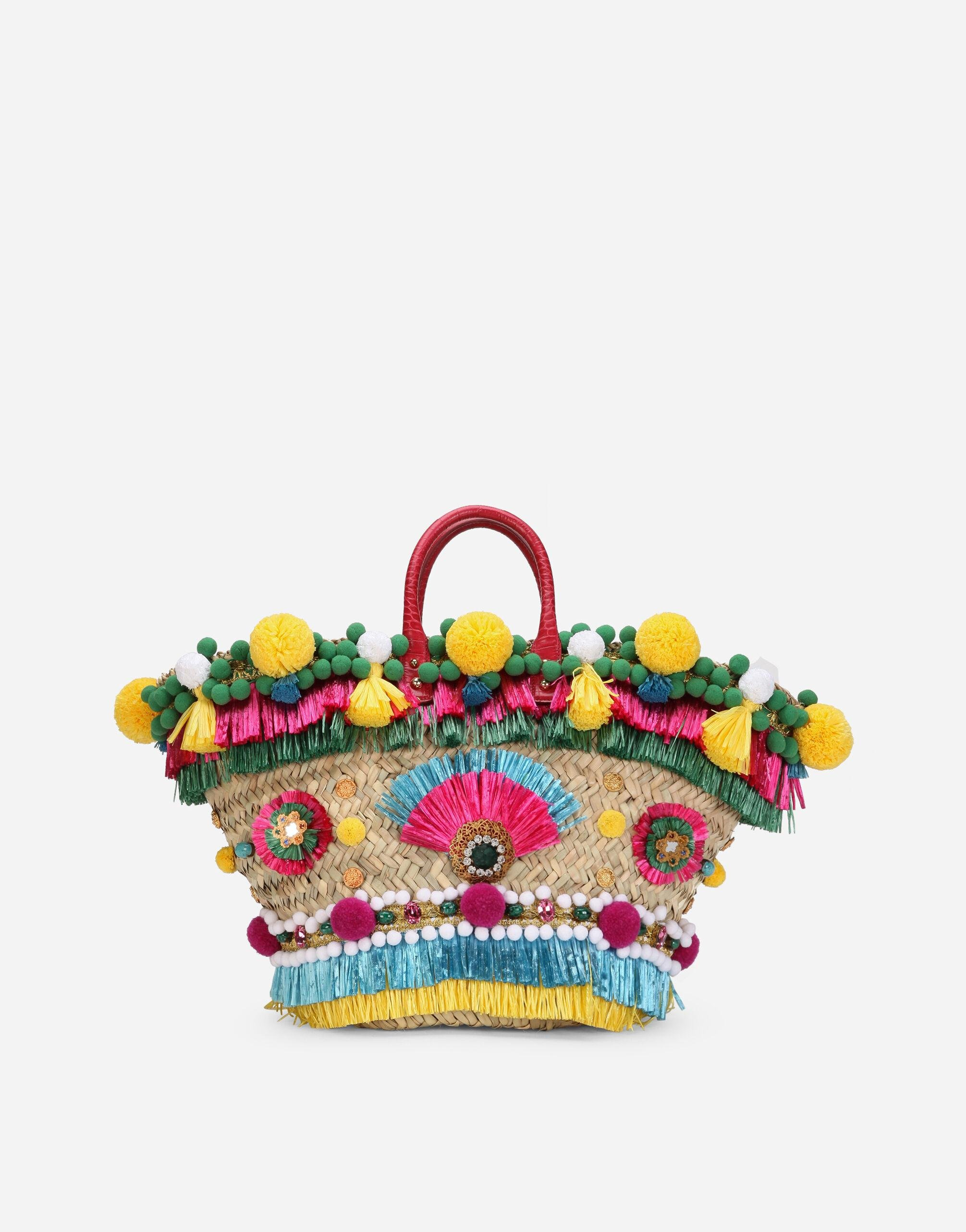 Straw Kendra coffa bag with embroidery
