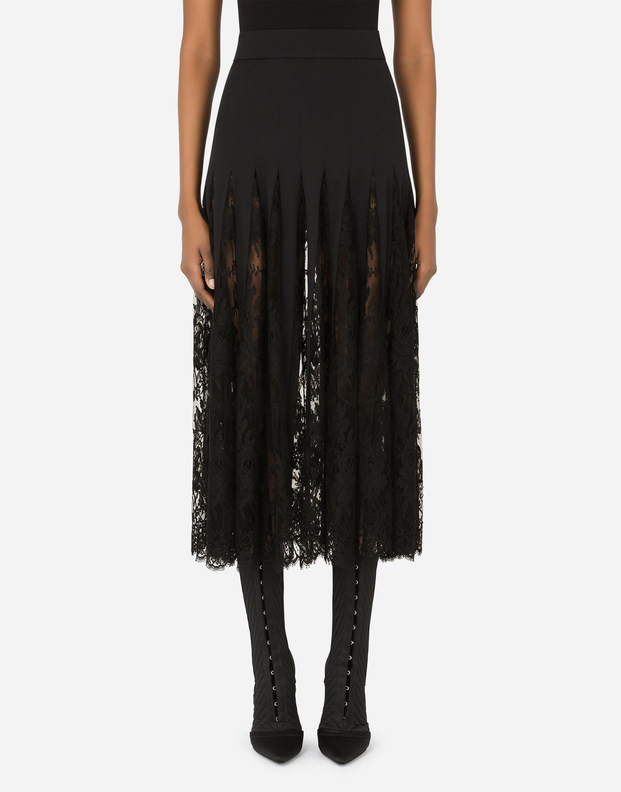 Charmeuse midi skirt with Chantilly lace inserts