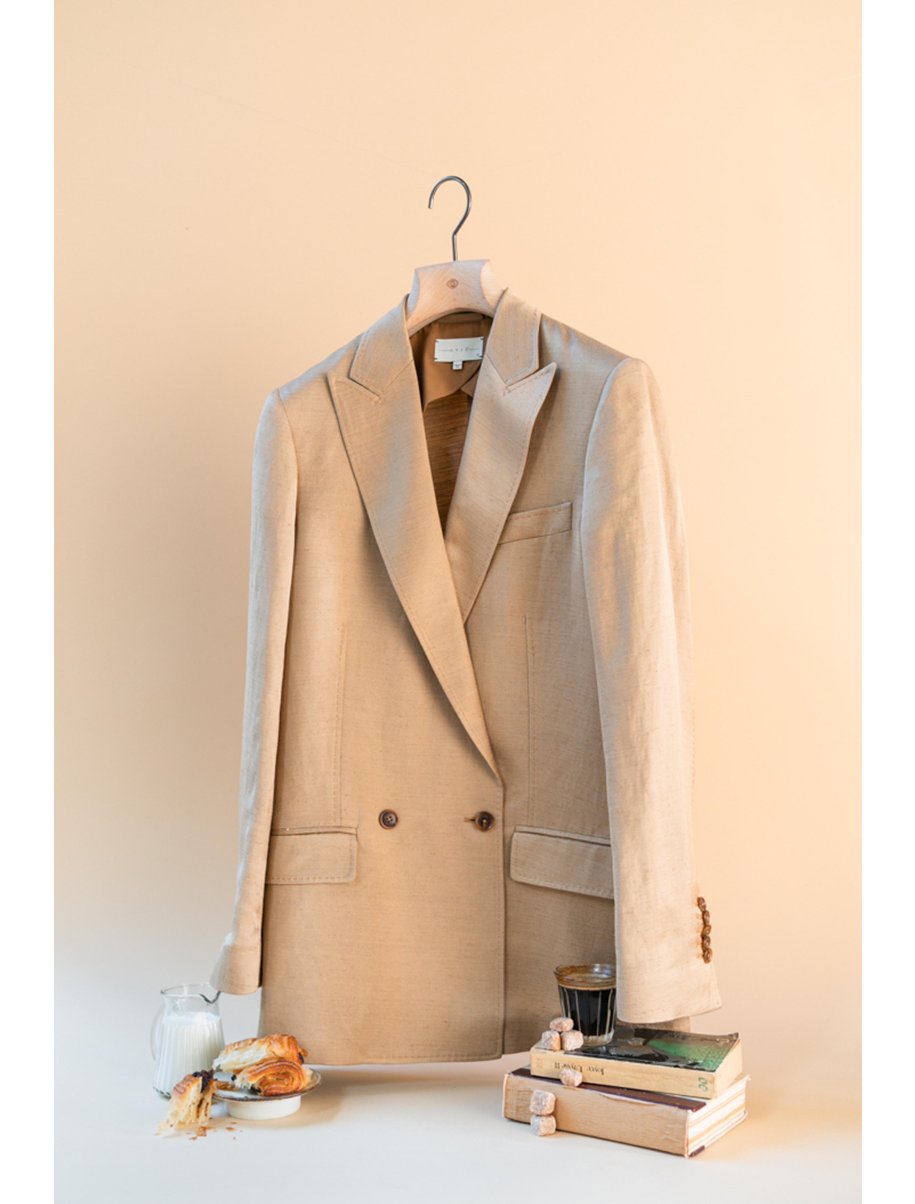 THE ALEK DOUBLE BREASTED TEXTURED LINEN VISCOSE BLAZER