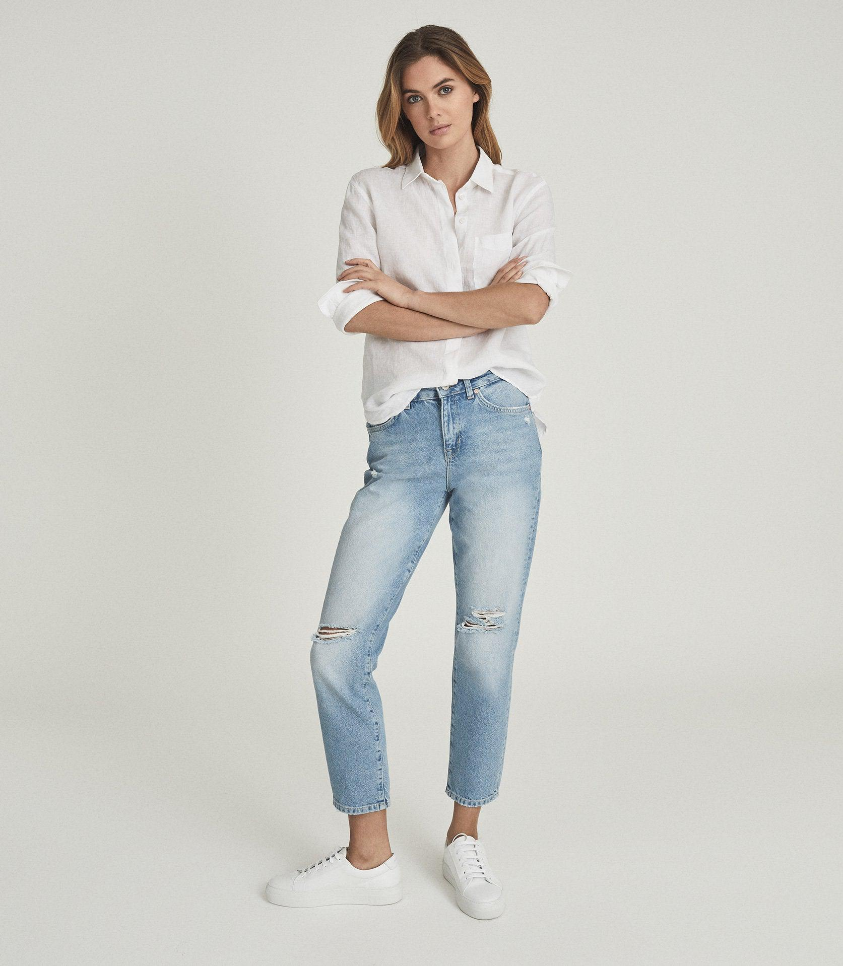 LAKELY RIPPED - MID RISE SLIM CROP JEANS