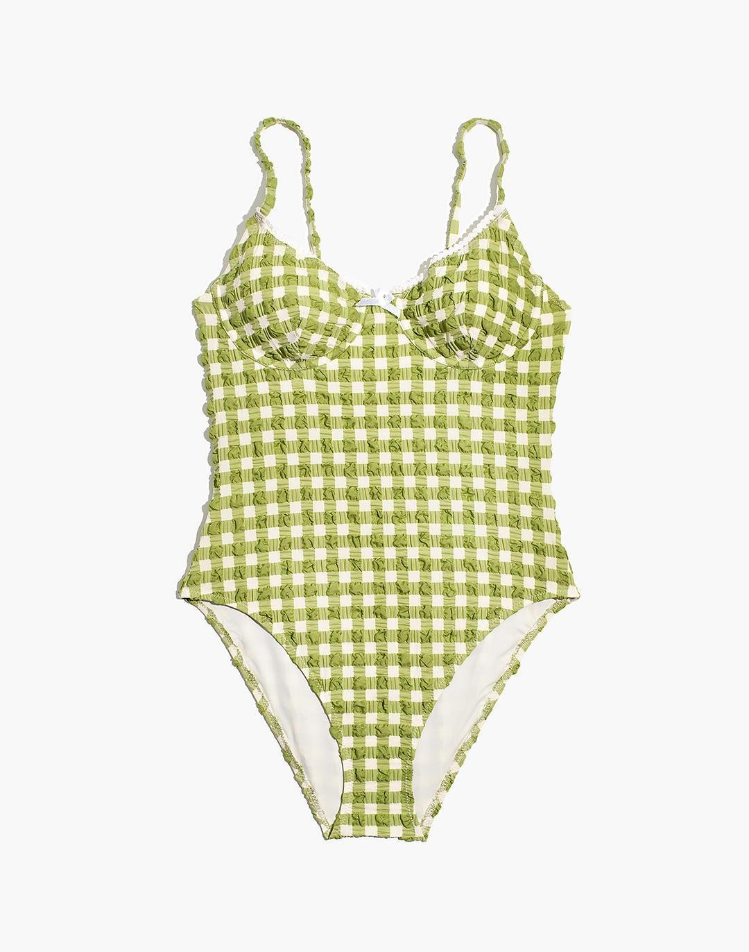 Madewell x Solid & Striped® Taylor One-Piece Swimsuit in Textural Gingham 4