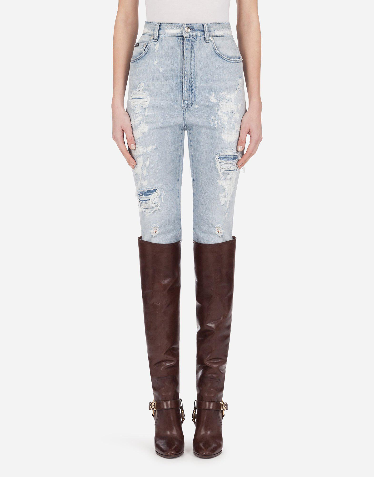 Audrey jeans in light blue denim with rips