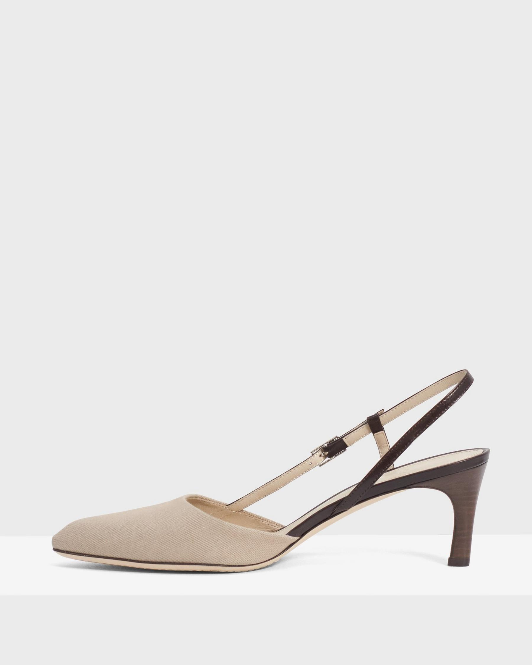 Buckled Mid-Heel Sandal in Cotton Canvas 2