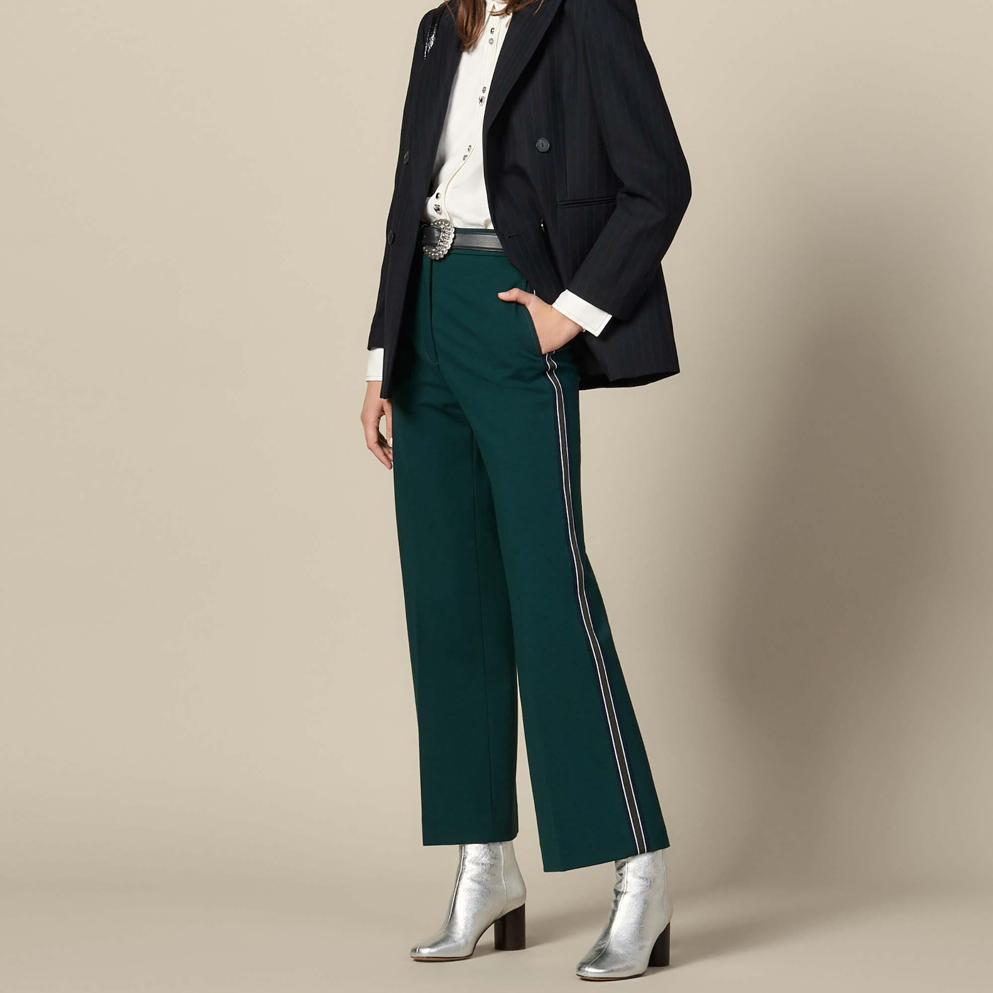 Wide-leg trousers with tricolour trim