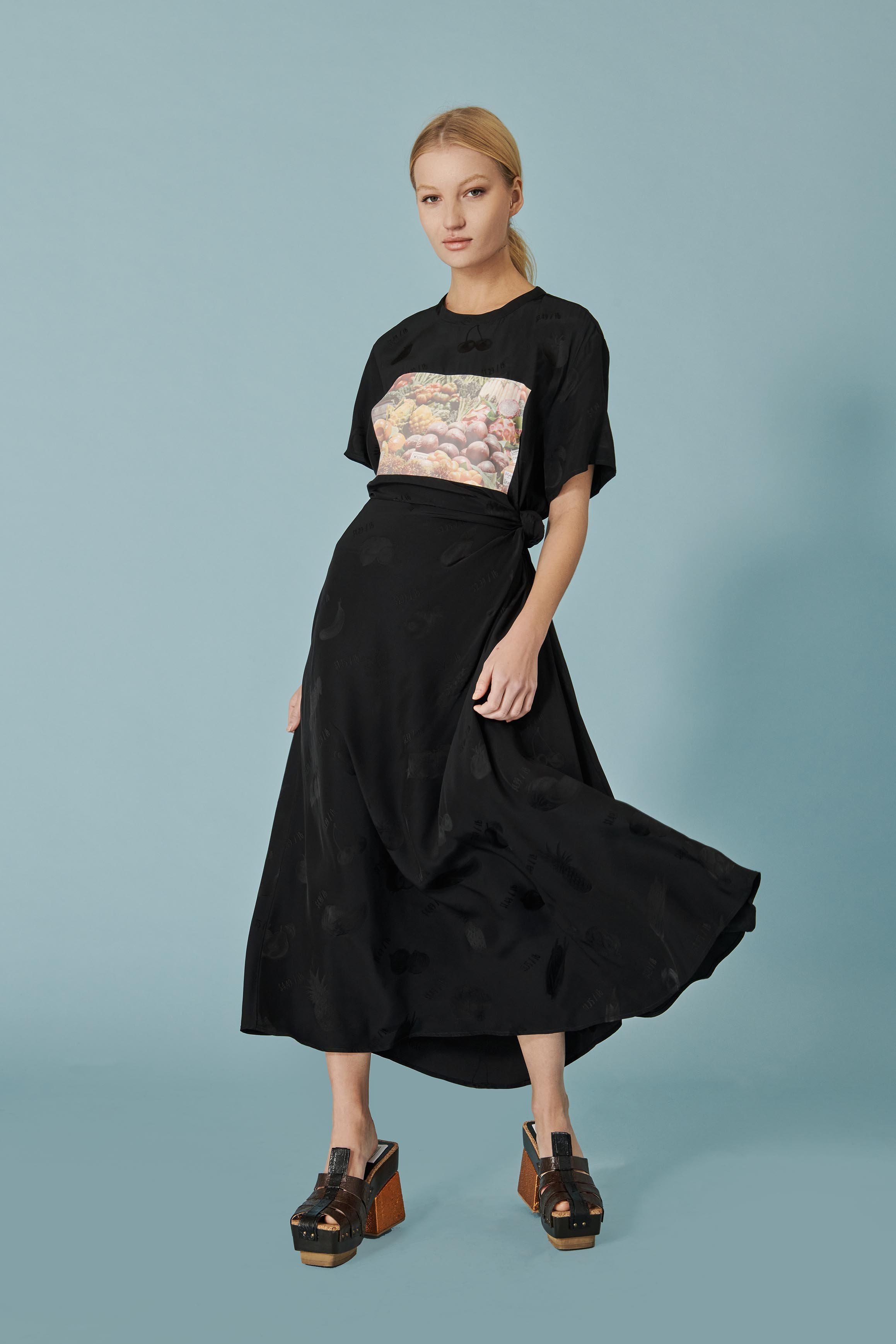 Produce Print Knotted T Dress