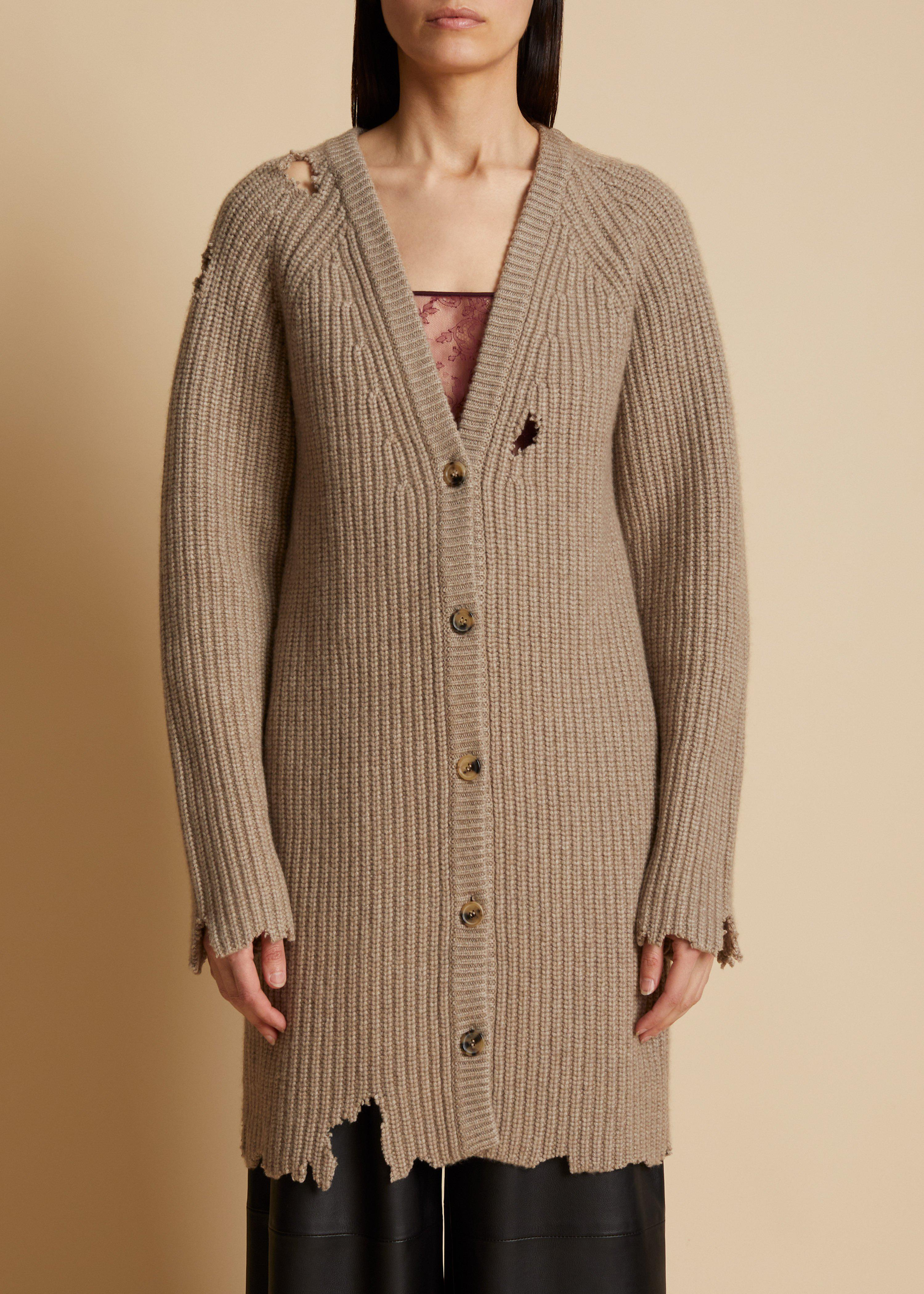 The Rory Distressed Cardigan in Husk