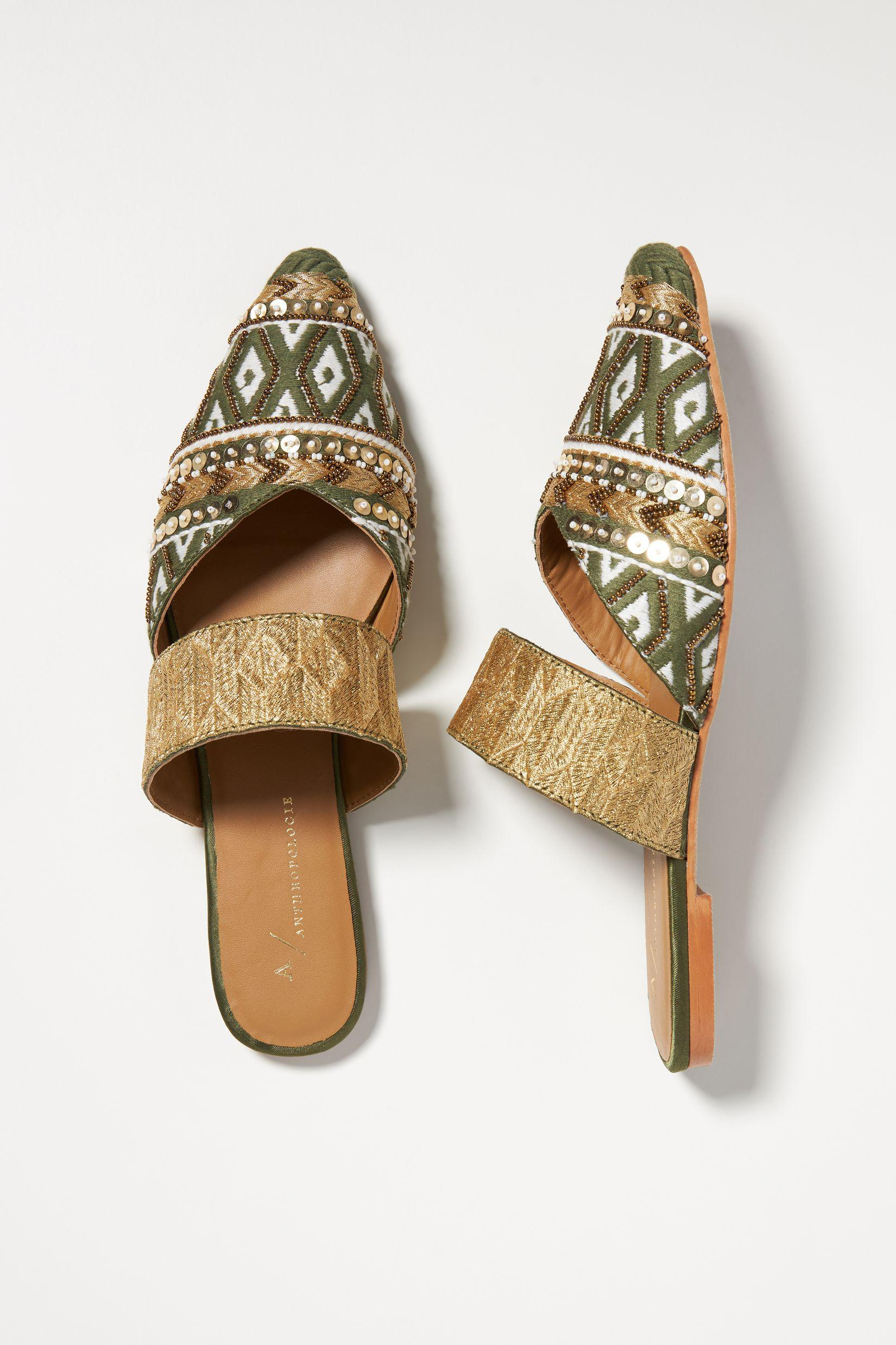 Tapestry Embroidered Mules