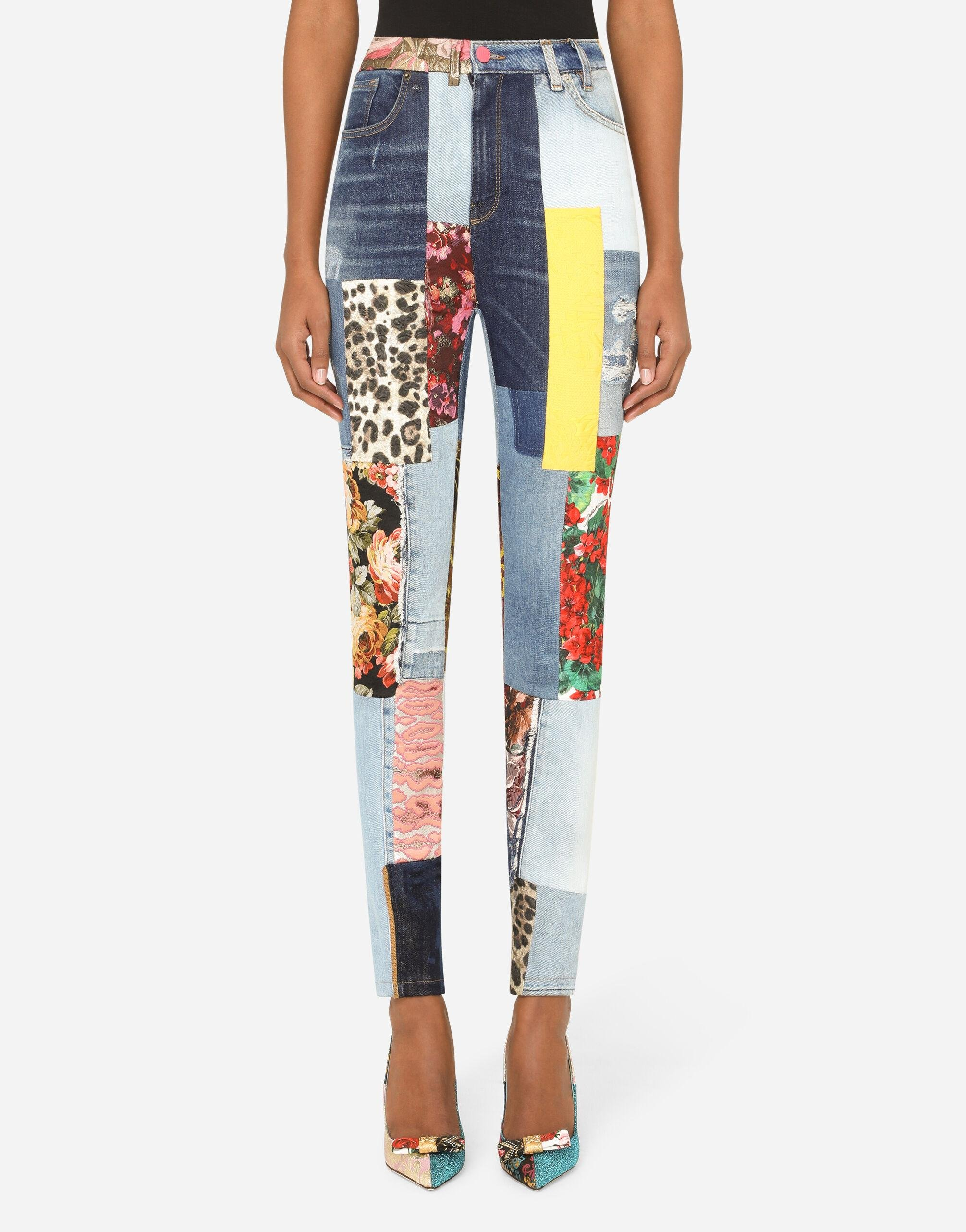 High-waisted patchwork jacquard and denim jeans