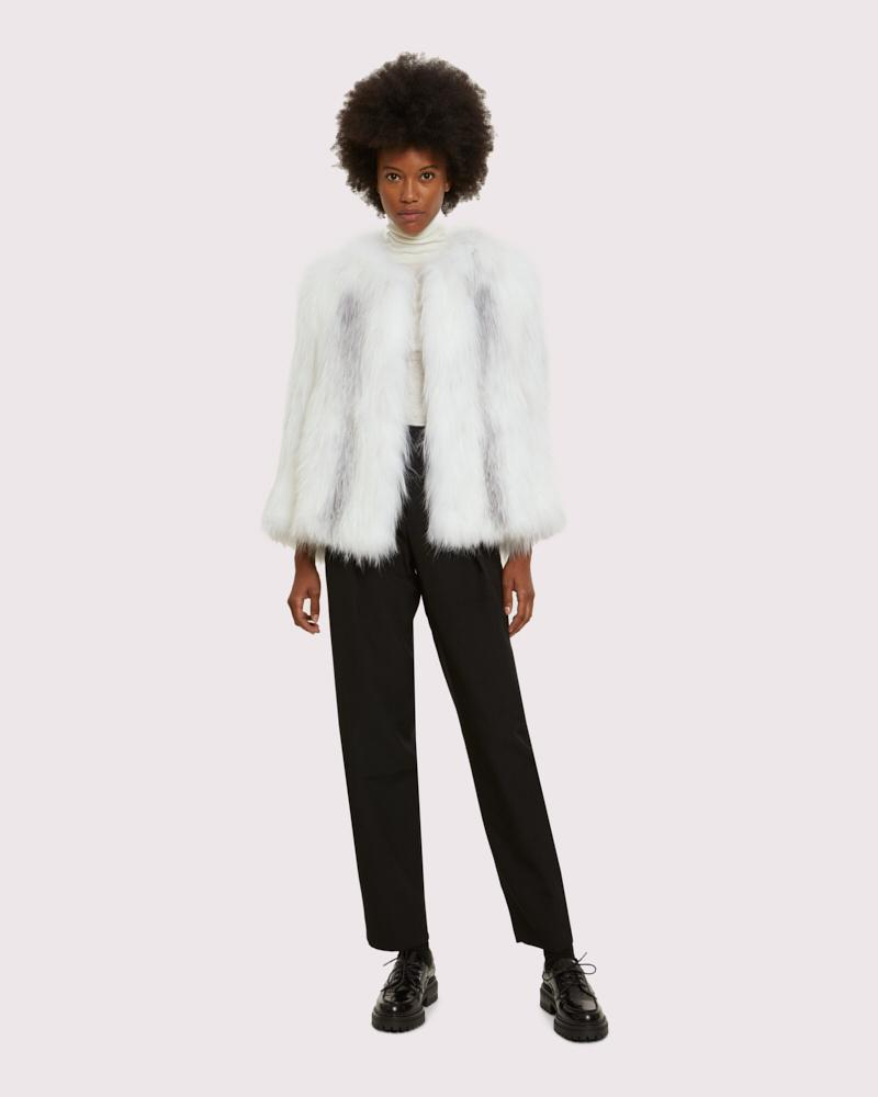 knitted arctic marble fox jacket 0