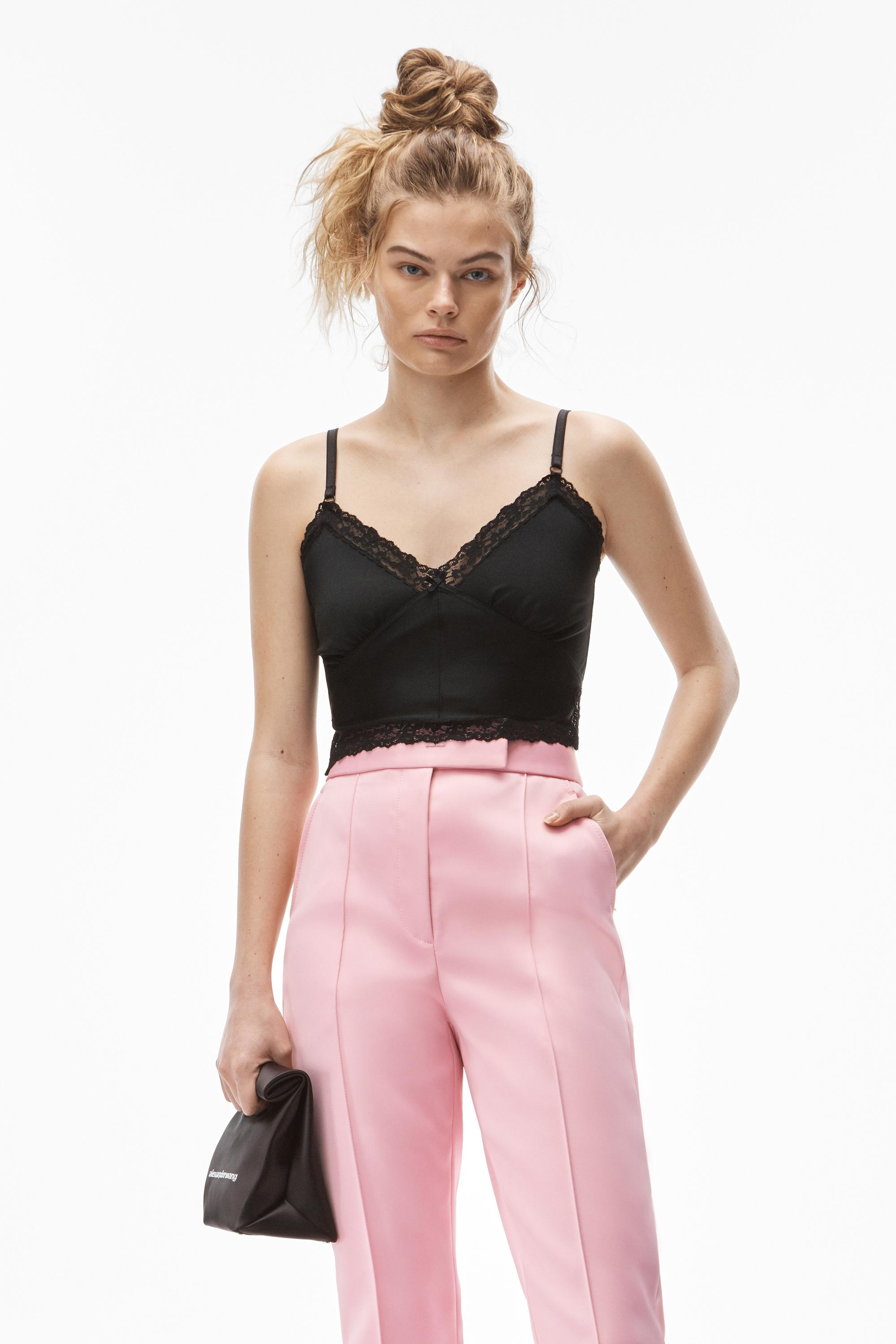 crop lace cami in active stretch lycra