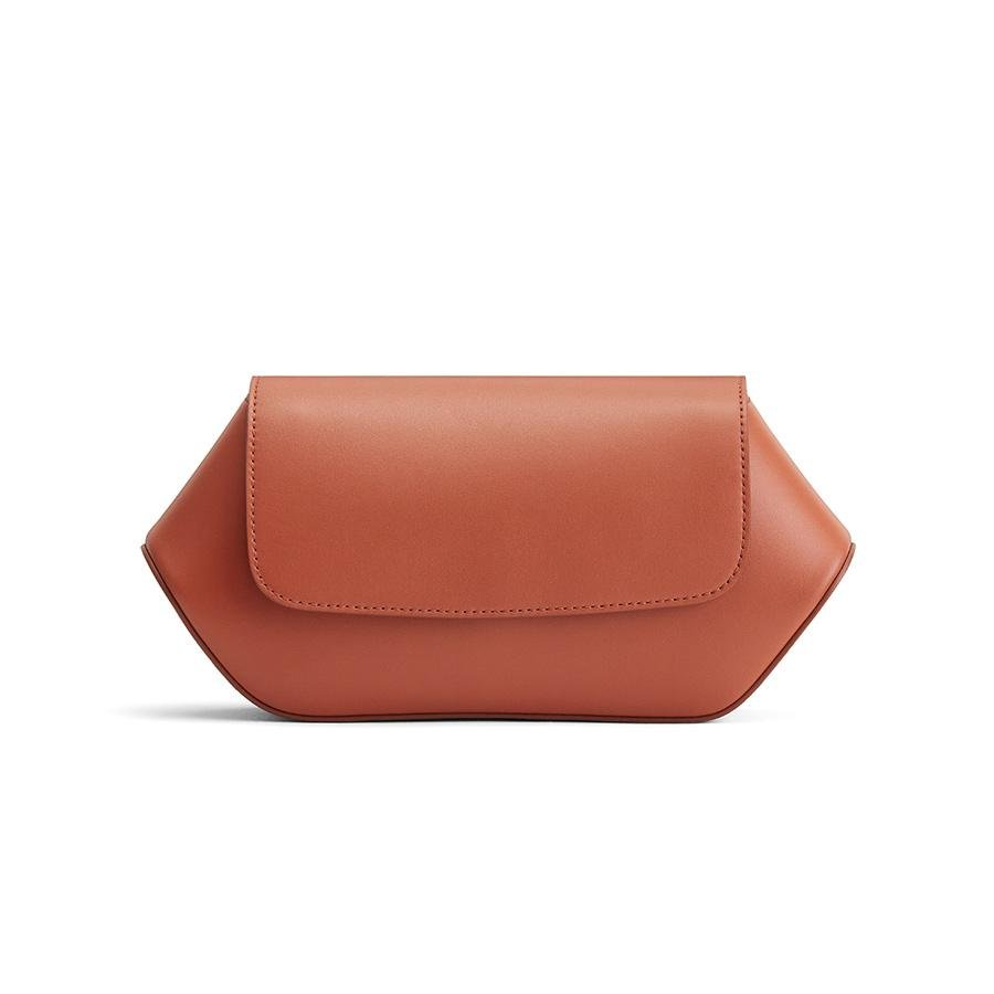 Women's Hexagon Clutch Bag in Sienna | Smooth Leather by Cuyana