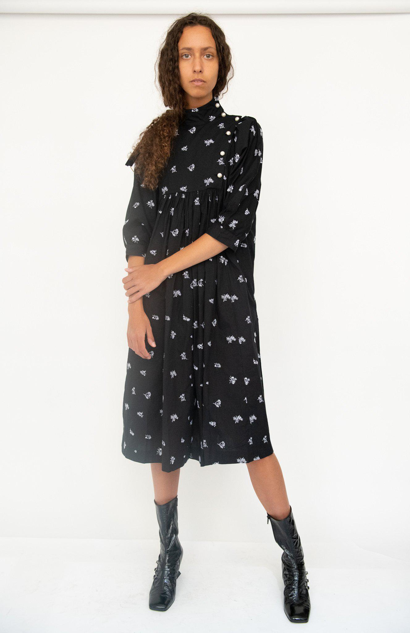 Smock Dress in Black Embroidered Cotton