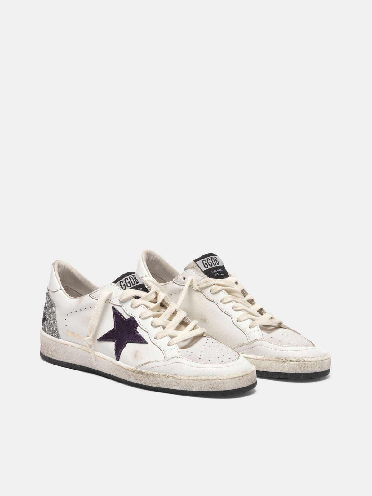 Ball Star sneakers with metallic purple star and glitter back 2