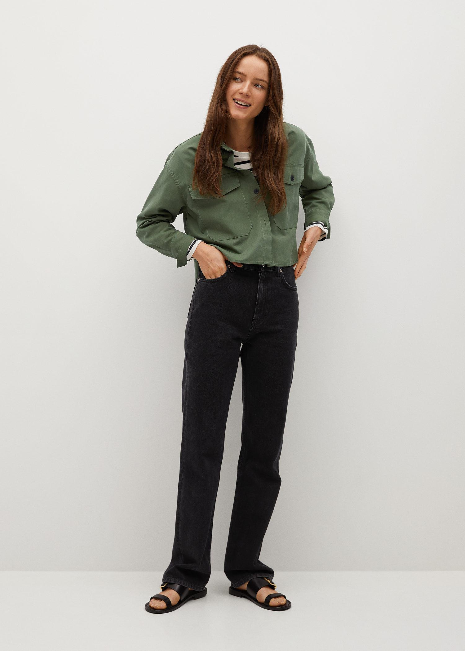 Cropped cotton overshirt 1
