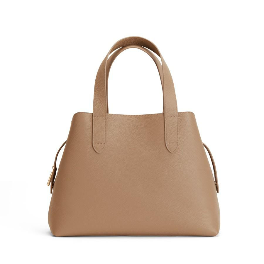 Women's Zippered Satchel Bag in Cappuccino | Pebbled Leather by Cuyana
