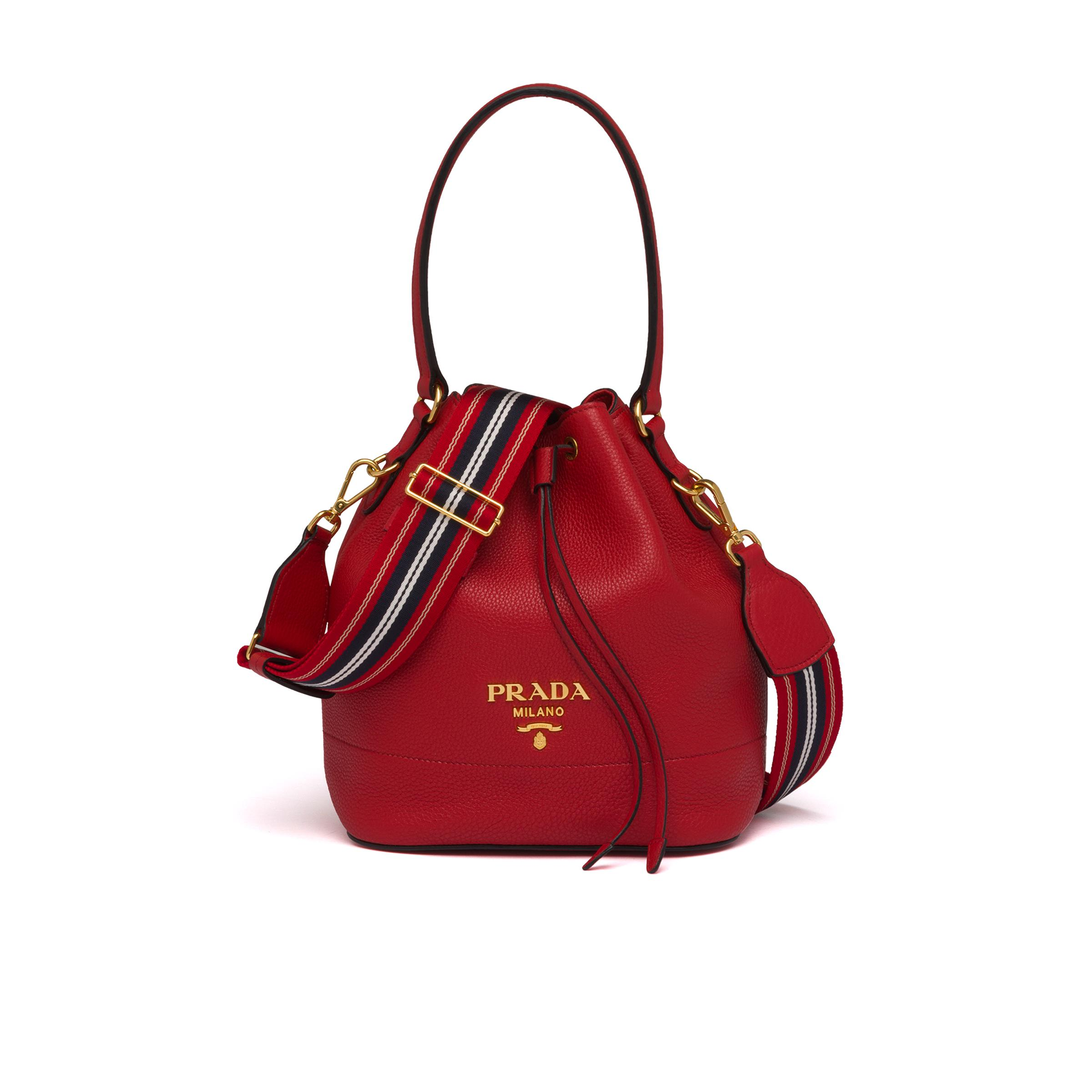 Leather Bucket Bag Women Red D