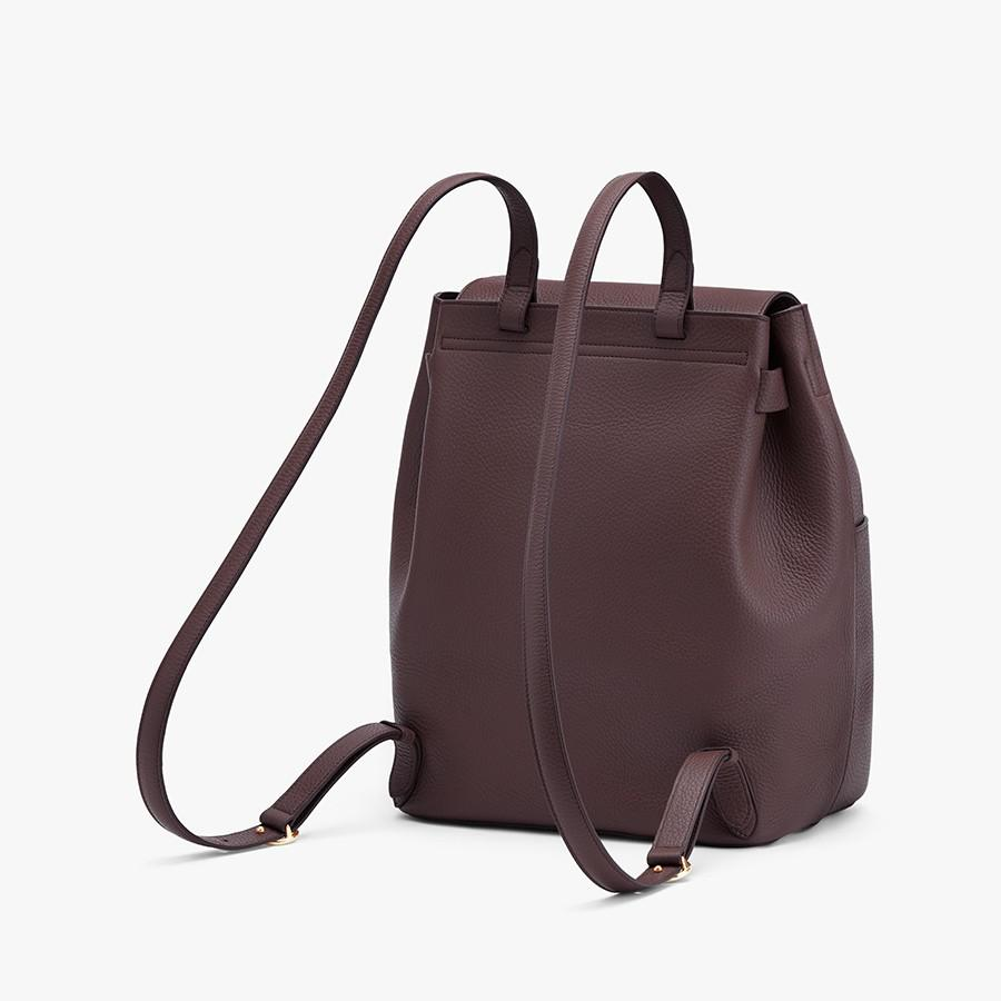 Women's Leather Backpack in Burgundy   Pebbled Leather by Cuyana 1