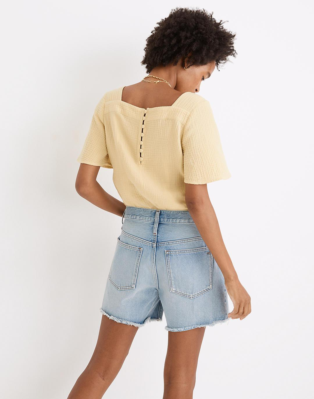 Relaxed Mid-Length Denim Shorts in Selton Wash: Ripped Edition 2