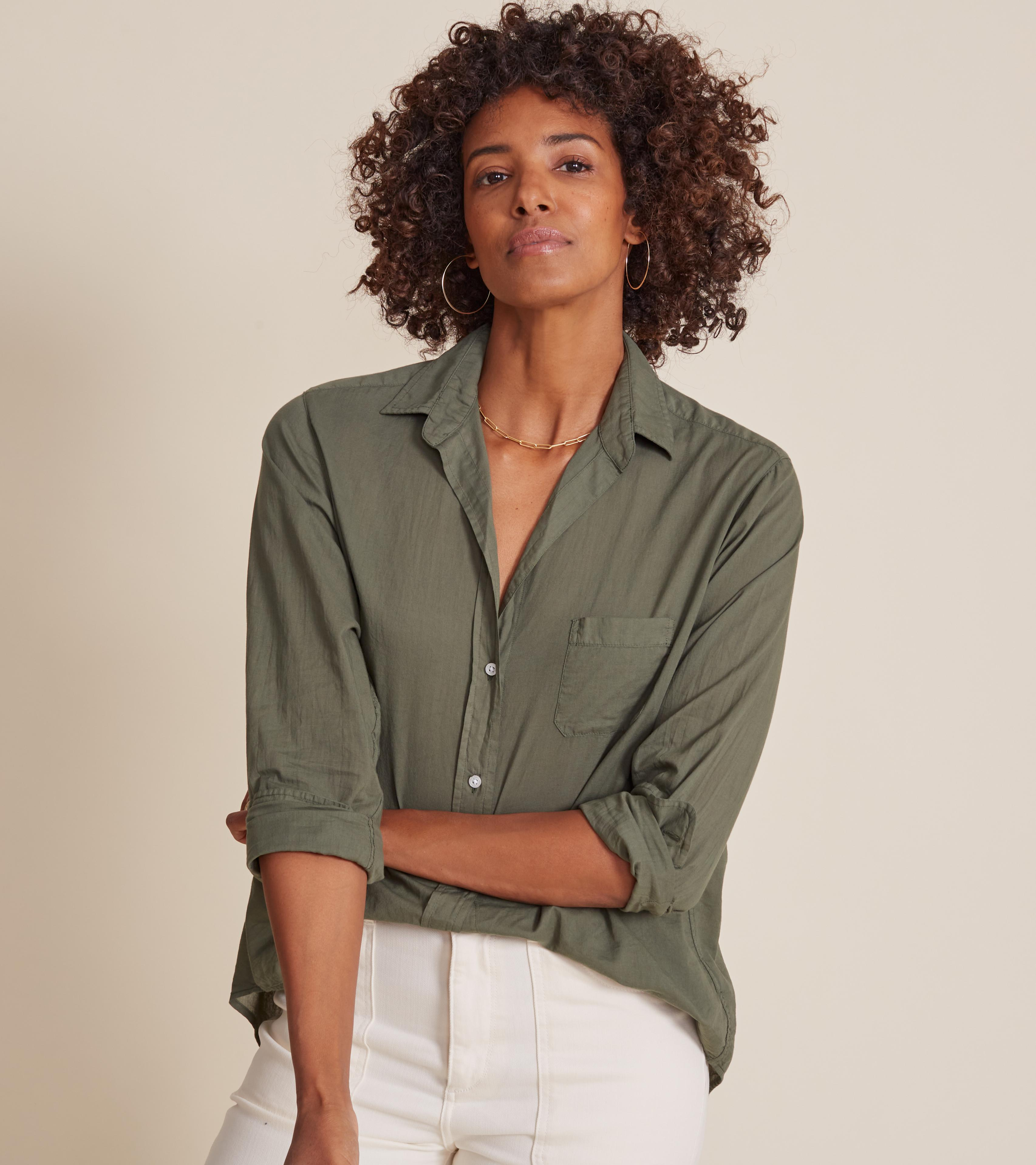The Hero Button-Up Shirt Army Green, Tissue Cotton 1
