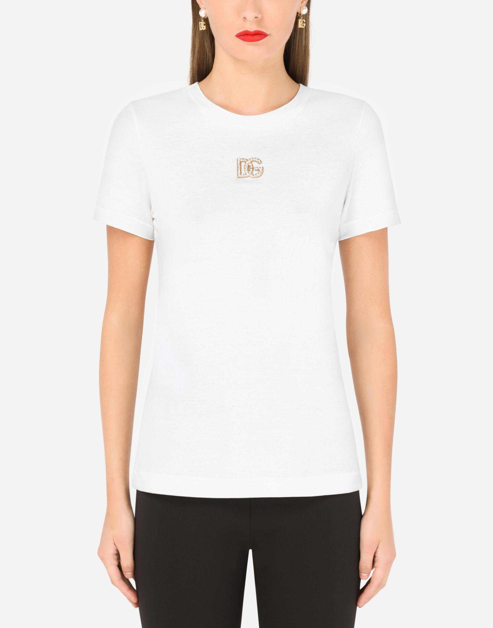 Jersey T-shirt with crystal DG embellishment