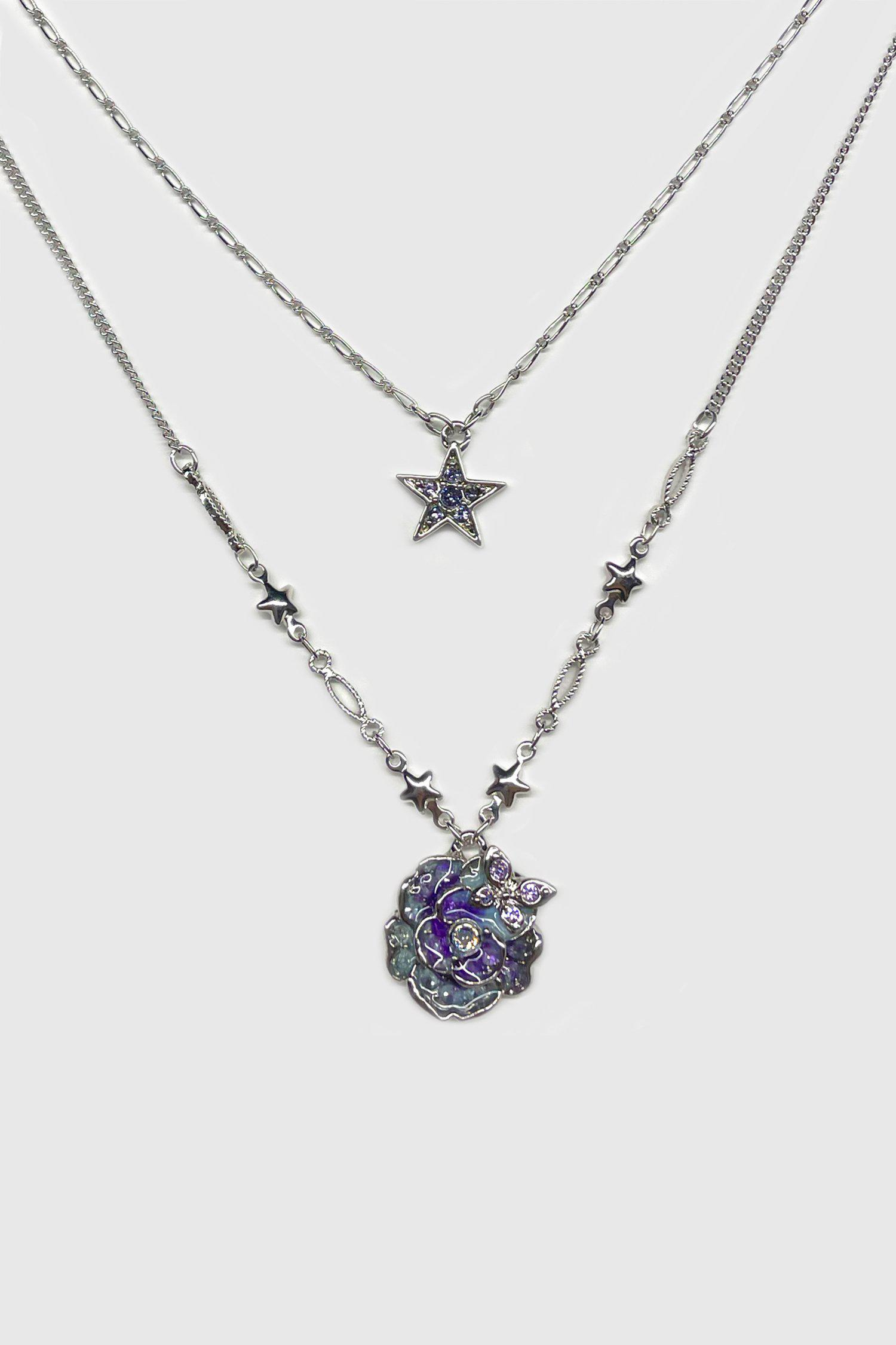 Rose and Star Charm Necklace Set