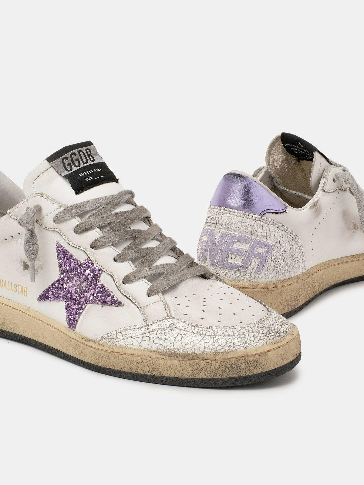 Ball Star sneakers with purple glitter 3