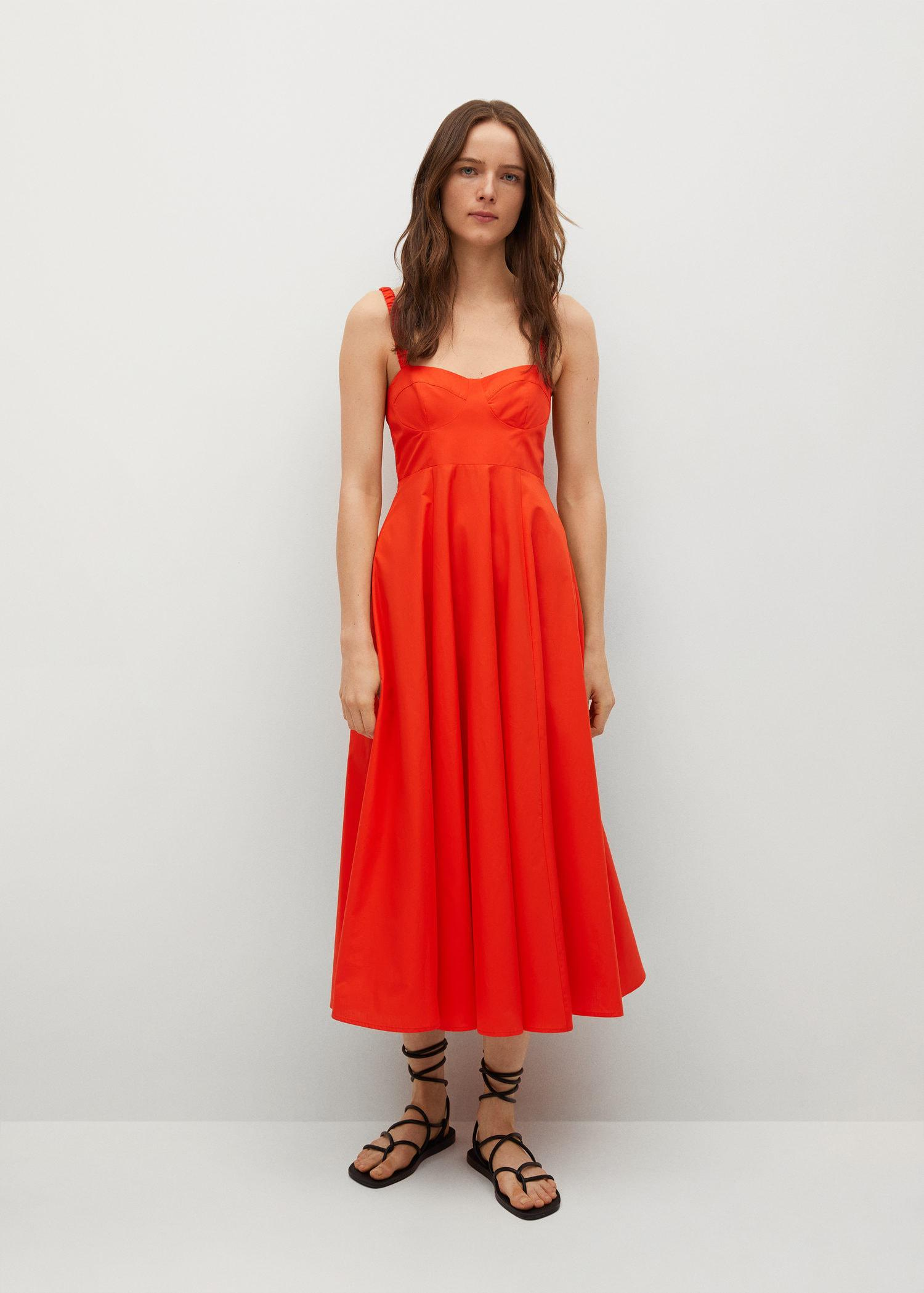 Cotton dress with seams 1