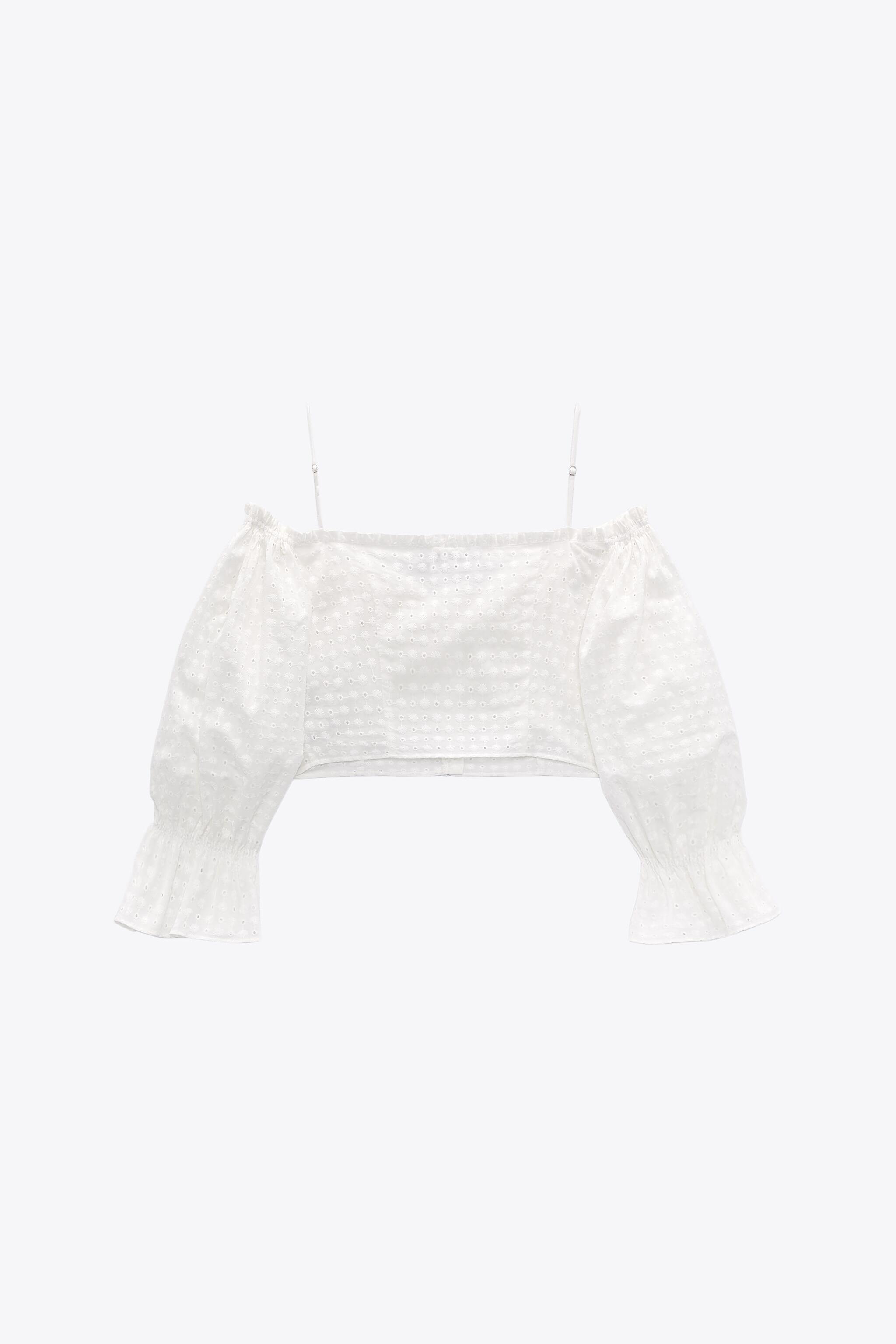EMBROIDERED EYELET CROP TOP 8