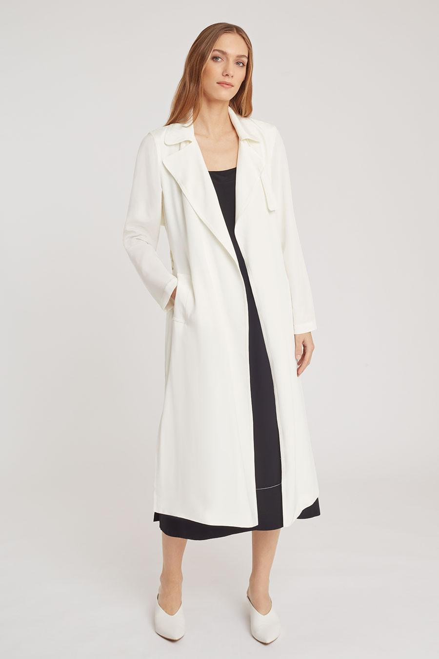 Women's Silk Classic Trench in White | Size: 1