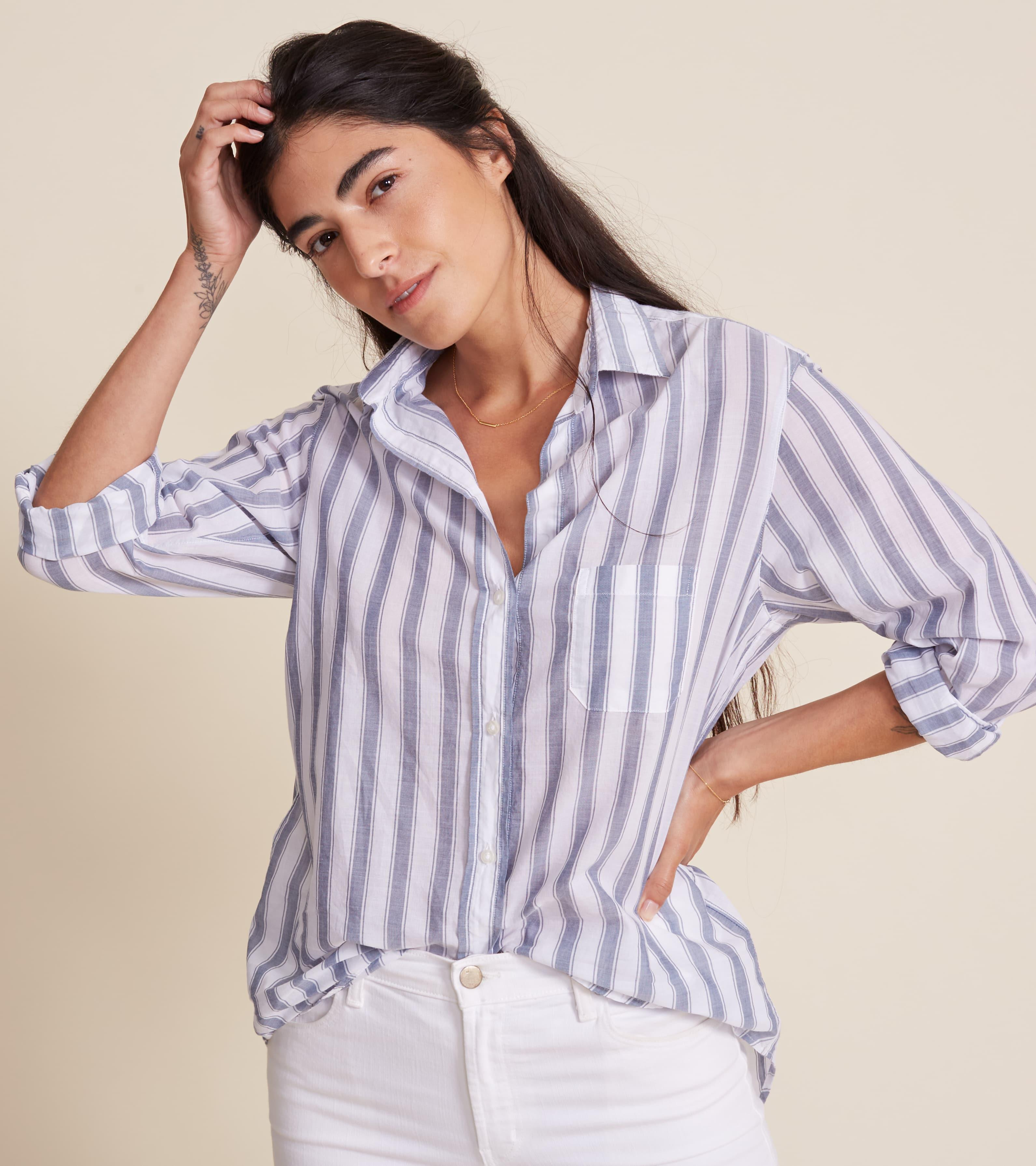 The Hero White with Thick Blue Stripe, Tissue Cotton Final Sale