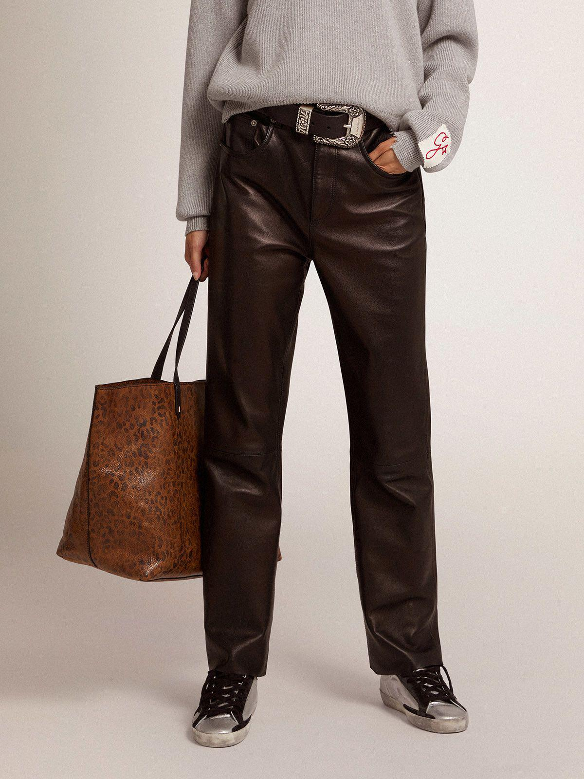 Golden Collection flared cropped pants in soft black nappa leather