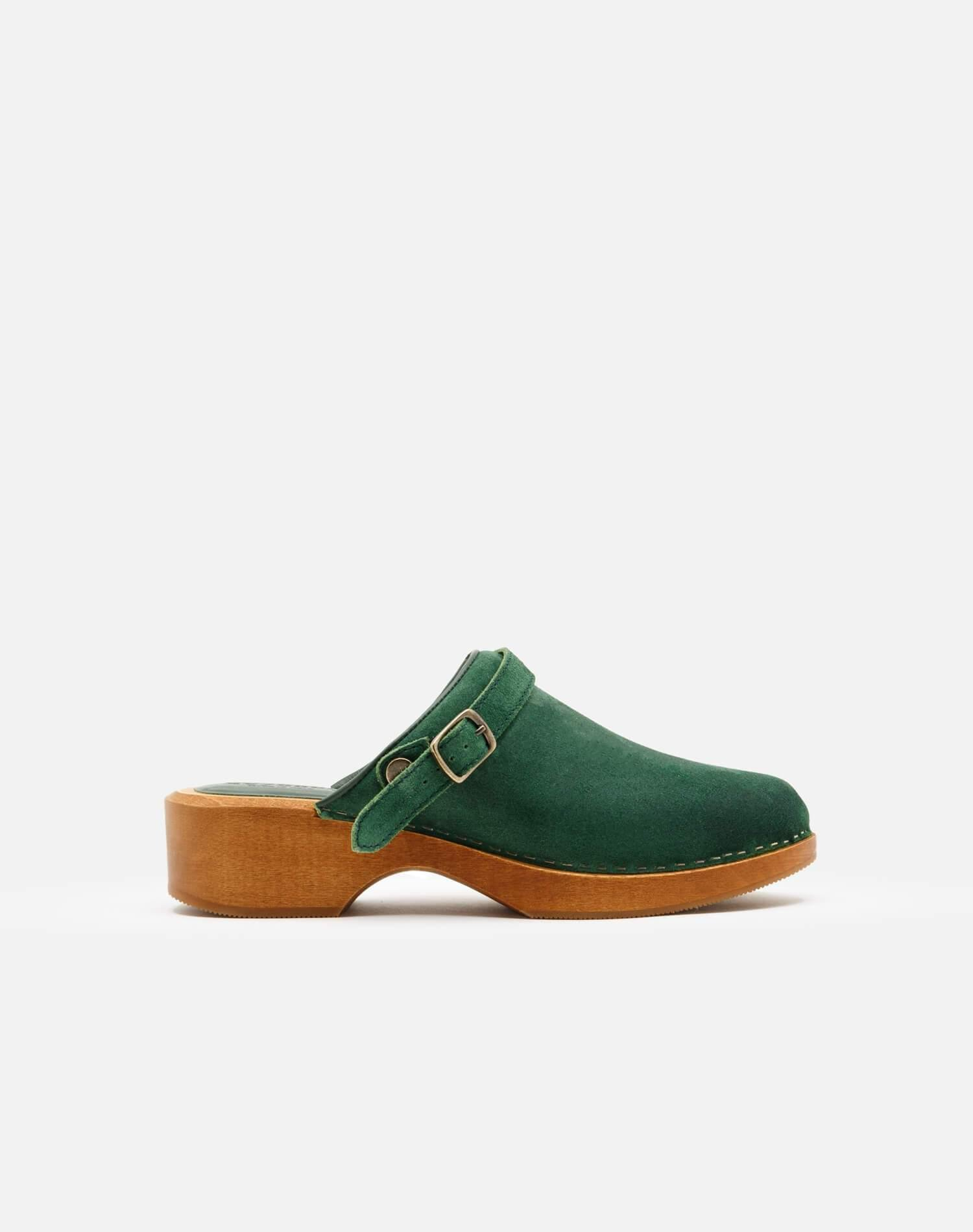 70s Classic Clog - Green Suede
