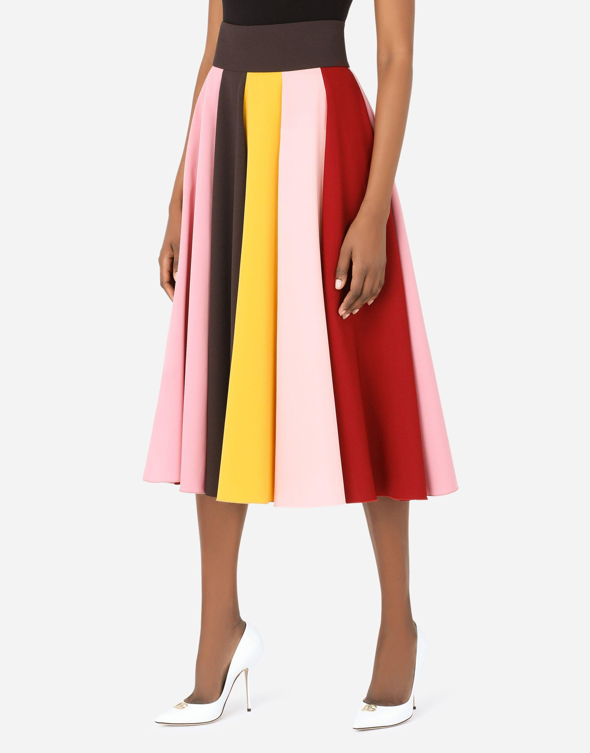 Multi-colored charmeuse and cady midi skirt 2