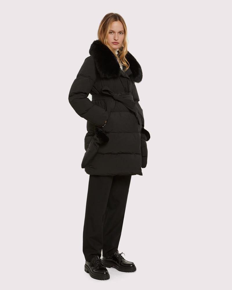 belted down jacket with fox collar 1