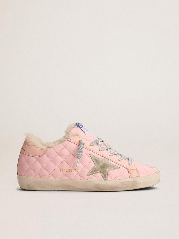 Super-Star sneakers in pink quilted leather with shearling lining
