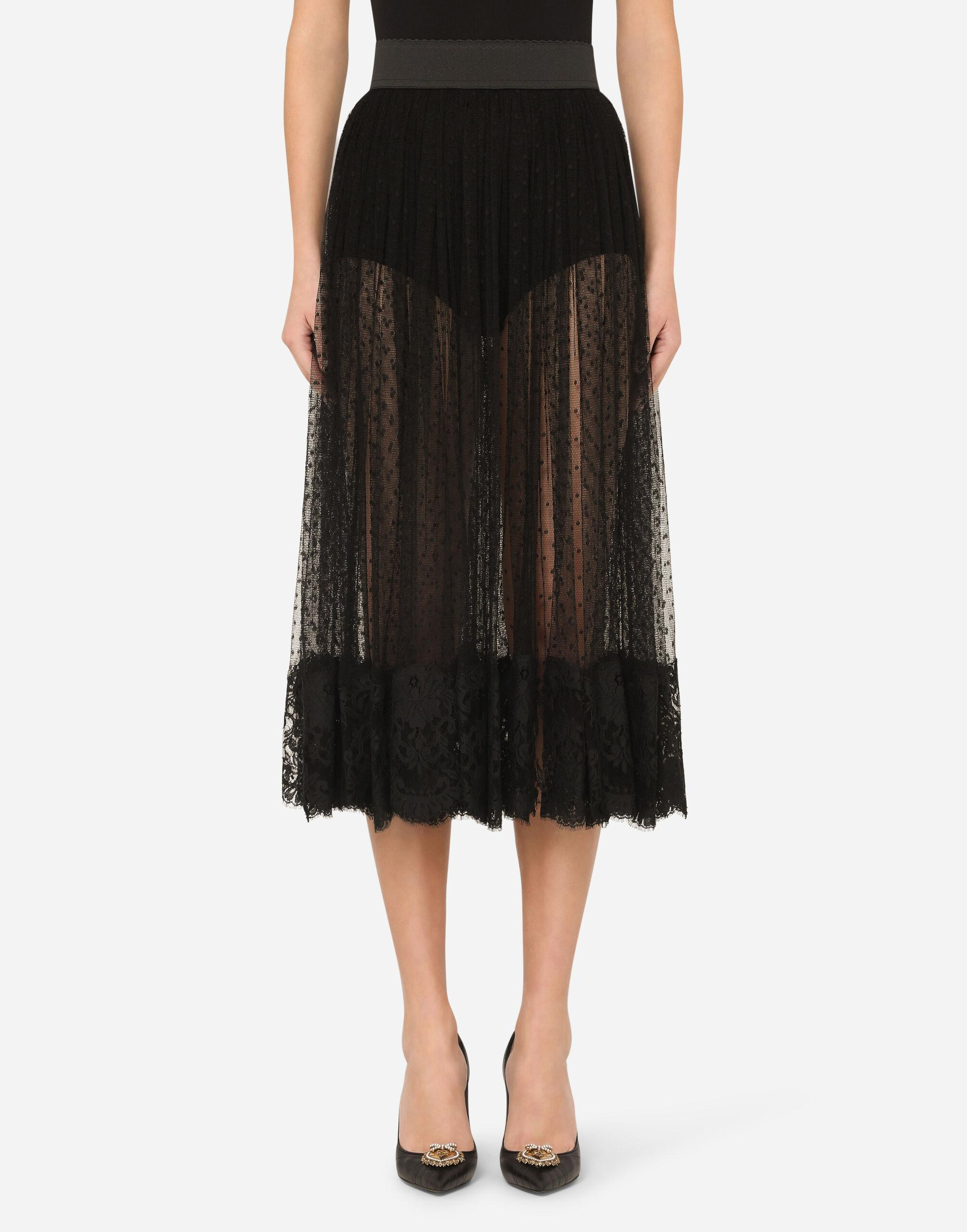 Pleated calf-length skirt in chantilly lace and plumetis